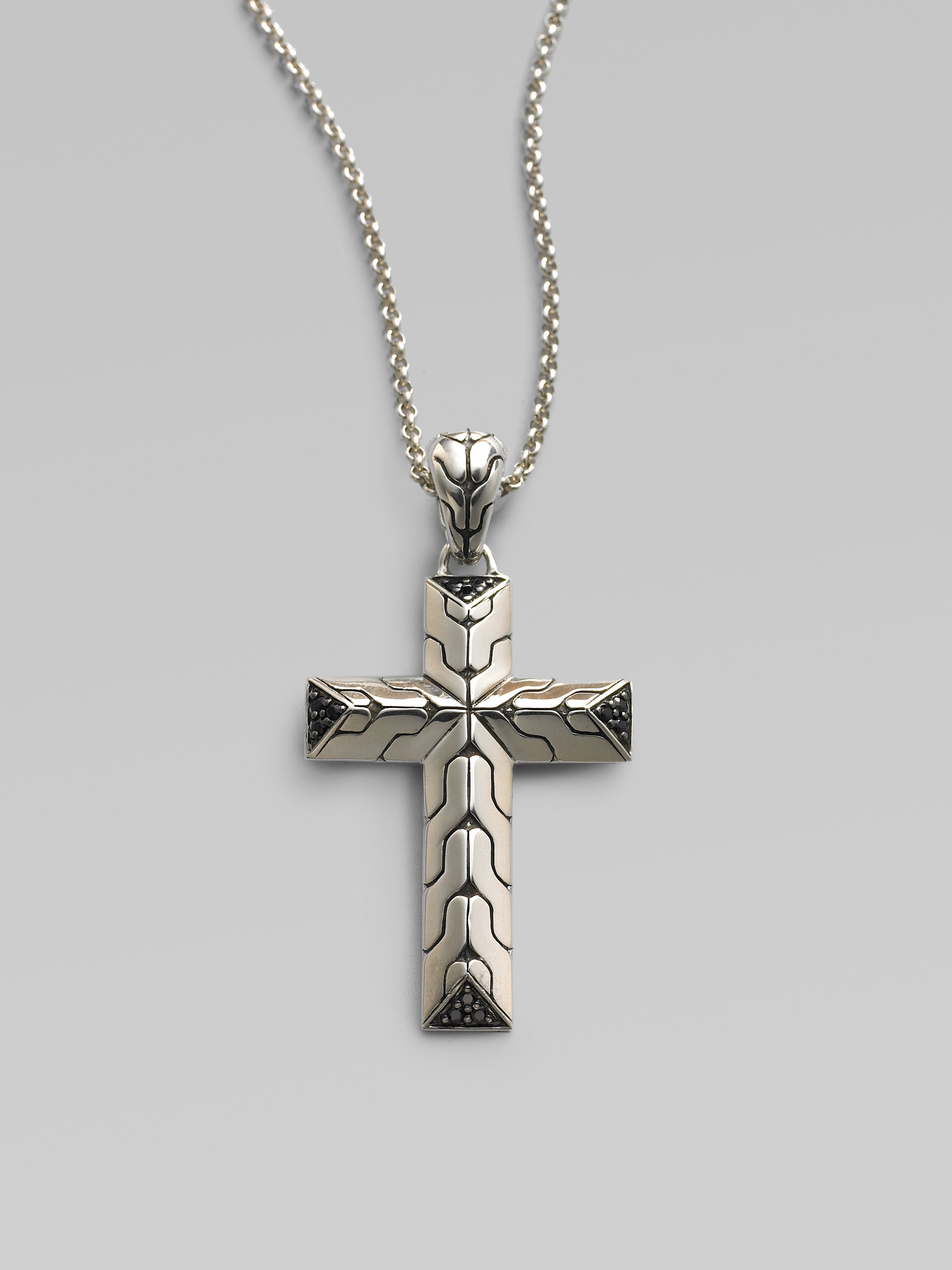 John hardy Silver Cross Pendant with Sapphires Small in Metallic