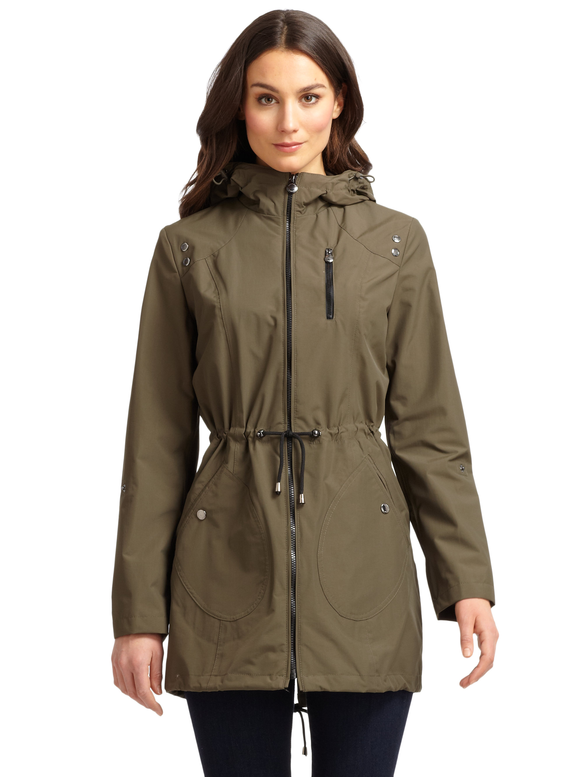910132197c41 Lyst - Laundry by Shelli Segal Waterproof Anorak Jacket in Natural