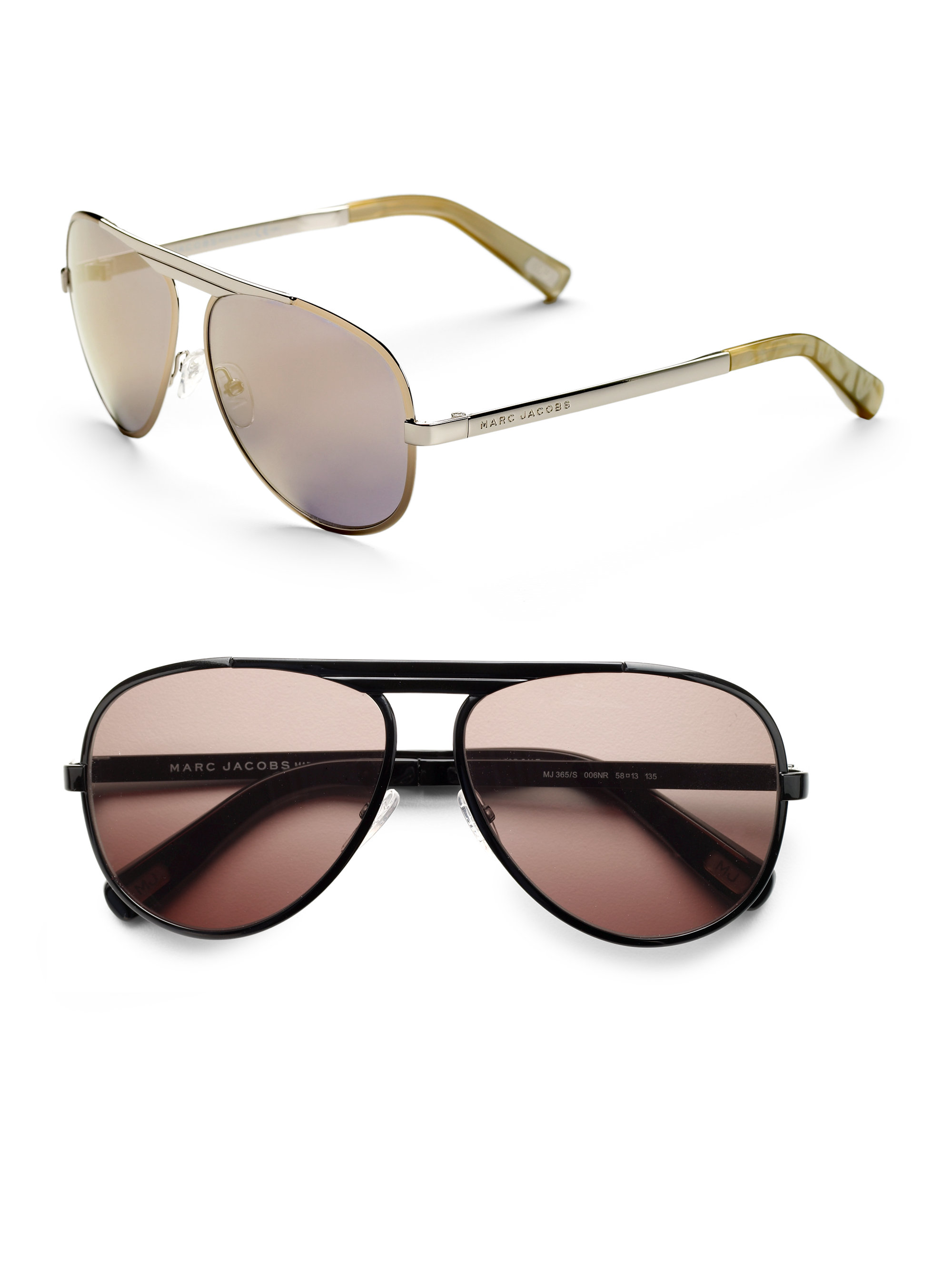 Marc Jacobs Gold Frame Sunglasses : Marc jacobs Metal Aviator Sunglasses in Gold for Men Lyst