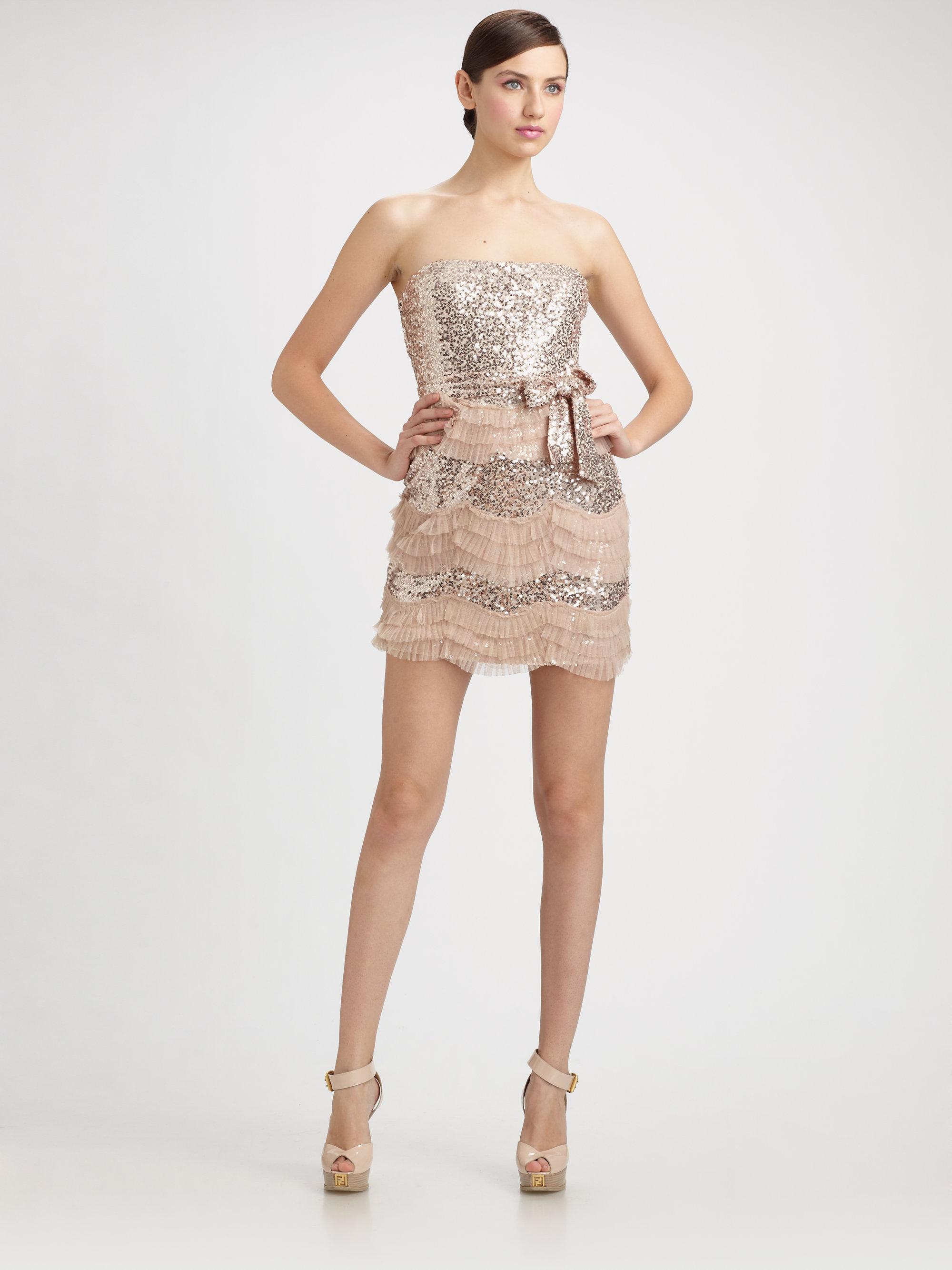 Badgley mischka Sequined Tulle Ruffle Strapless Mini Dress ...