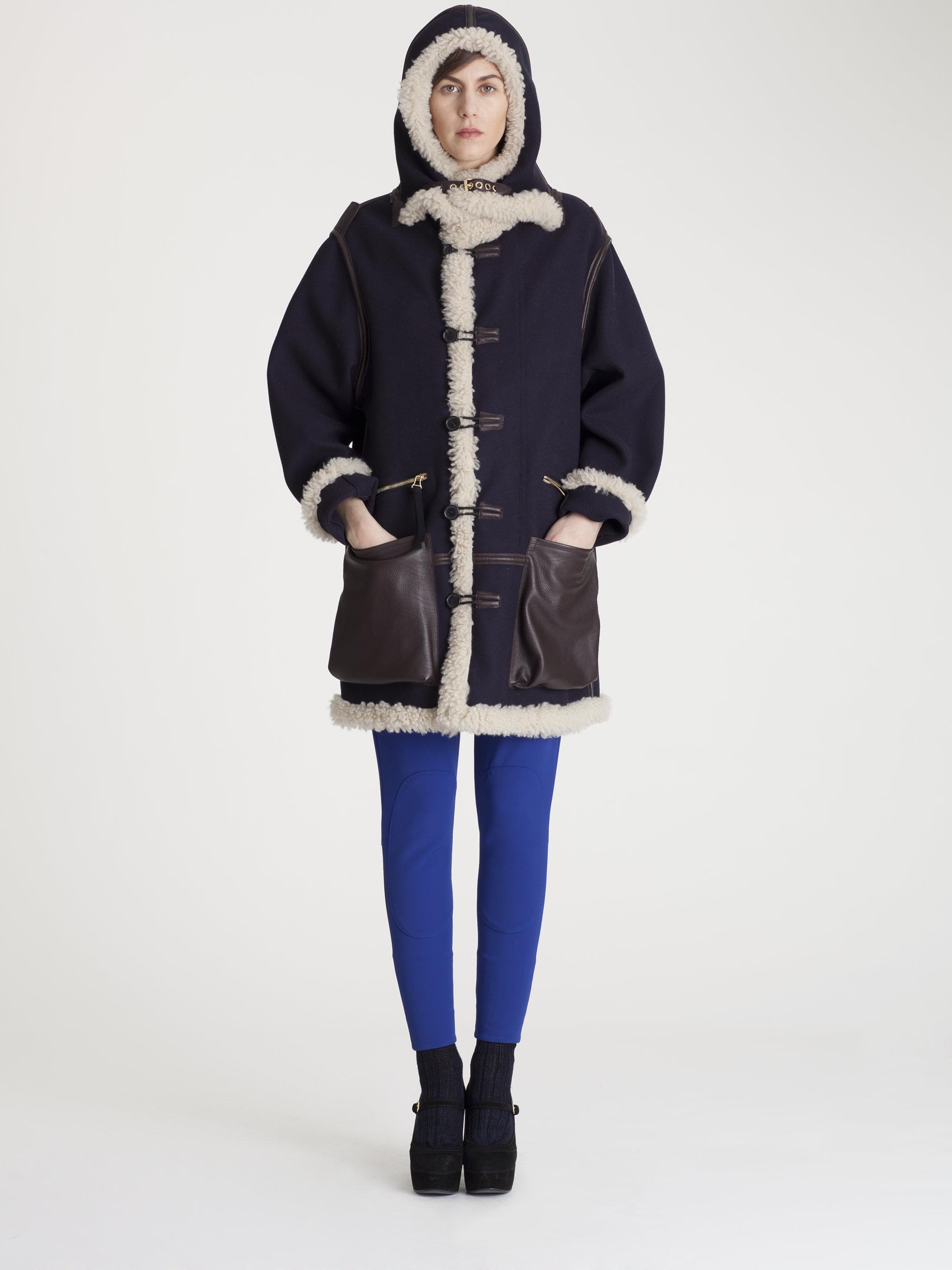 Marni Shearling Wool Coat in Black | Lyst