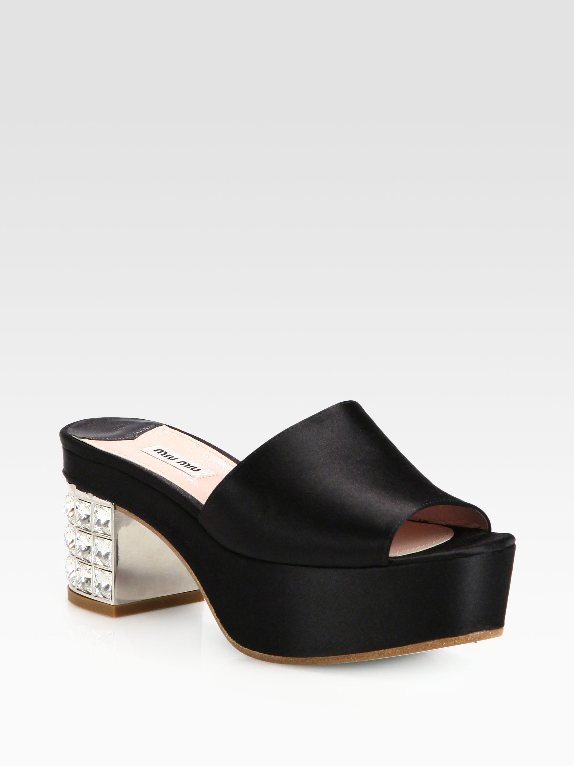 d6fc66149 Lyst - Miu Miu Satin Jeweled Heel Platform Mules in Black