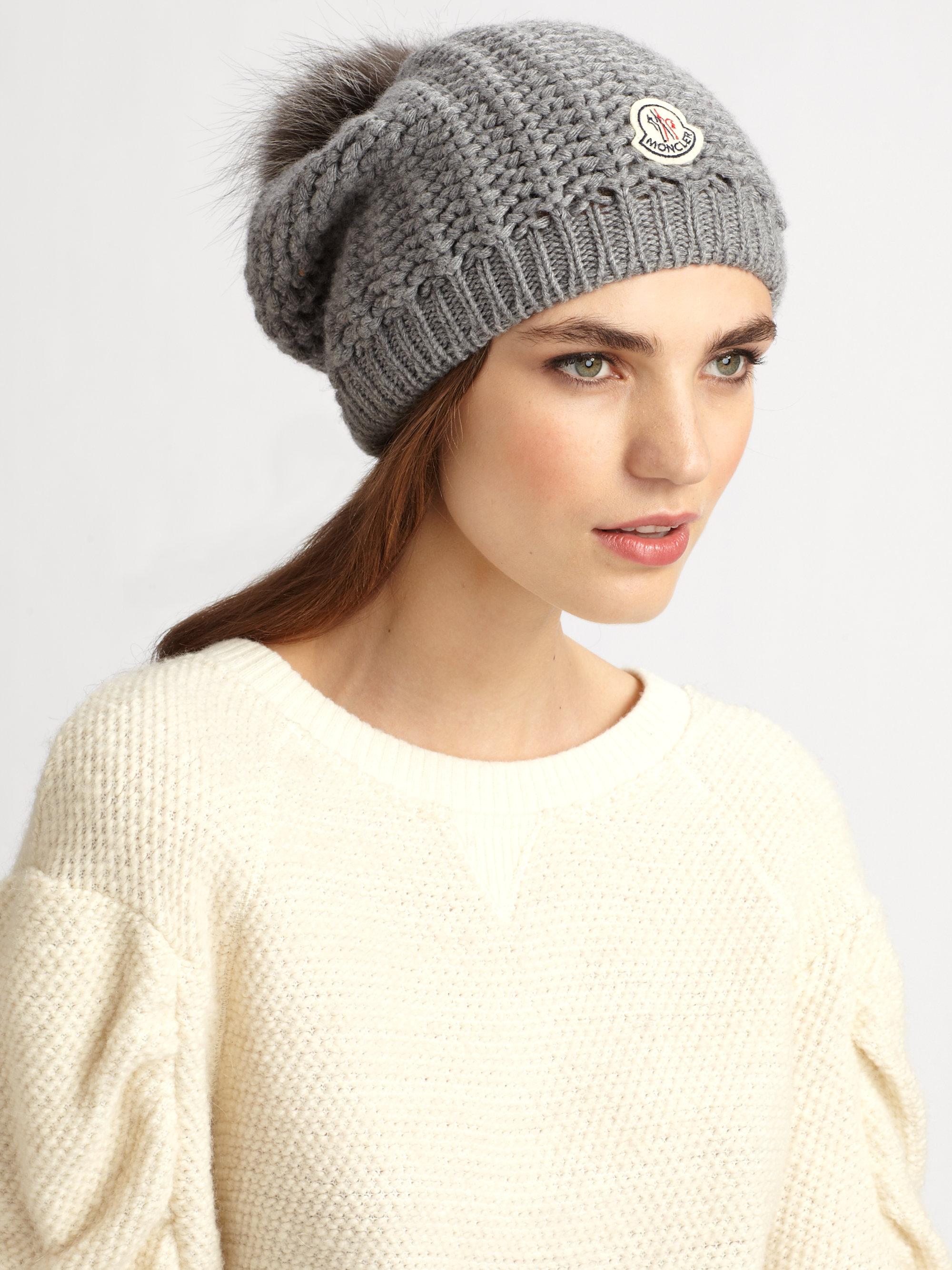 Lyst - Moncler Fox Pompom Knit Hat in Gray e5bdd8e9d1b