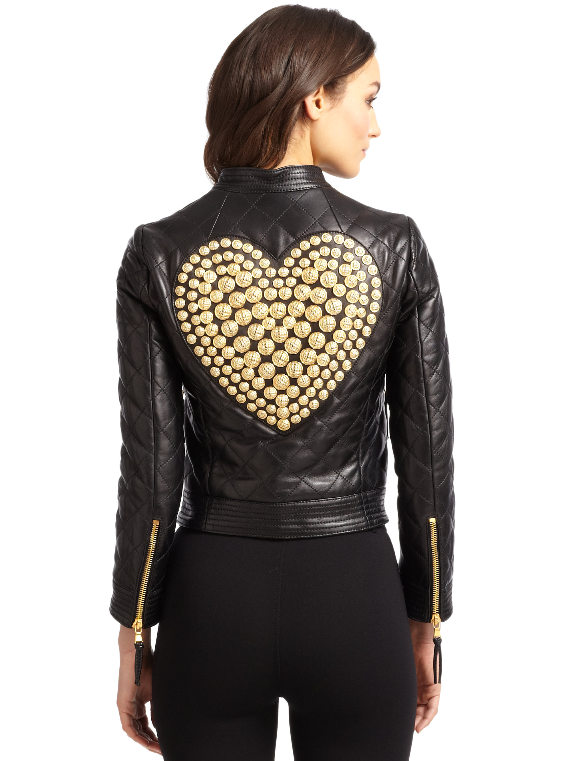 Lyst Moschino Heart Buttonback Leather Jacket In Black