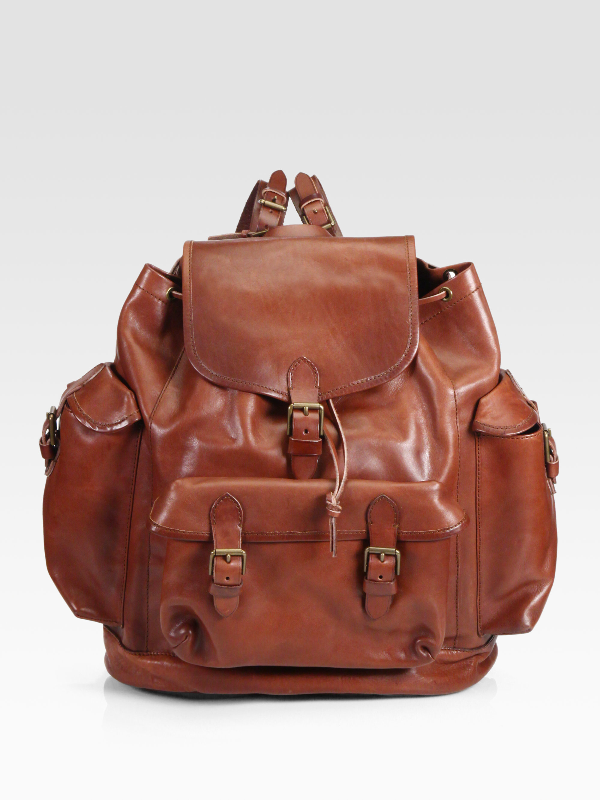Lyst - Polo Ralph Lauren Leather Backpack in Brown for Men 60dc6712f890c