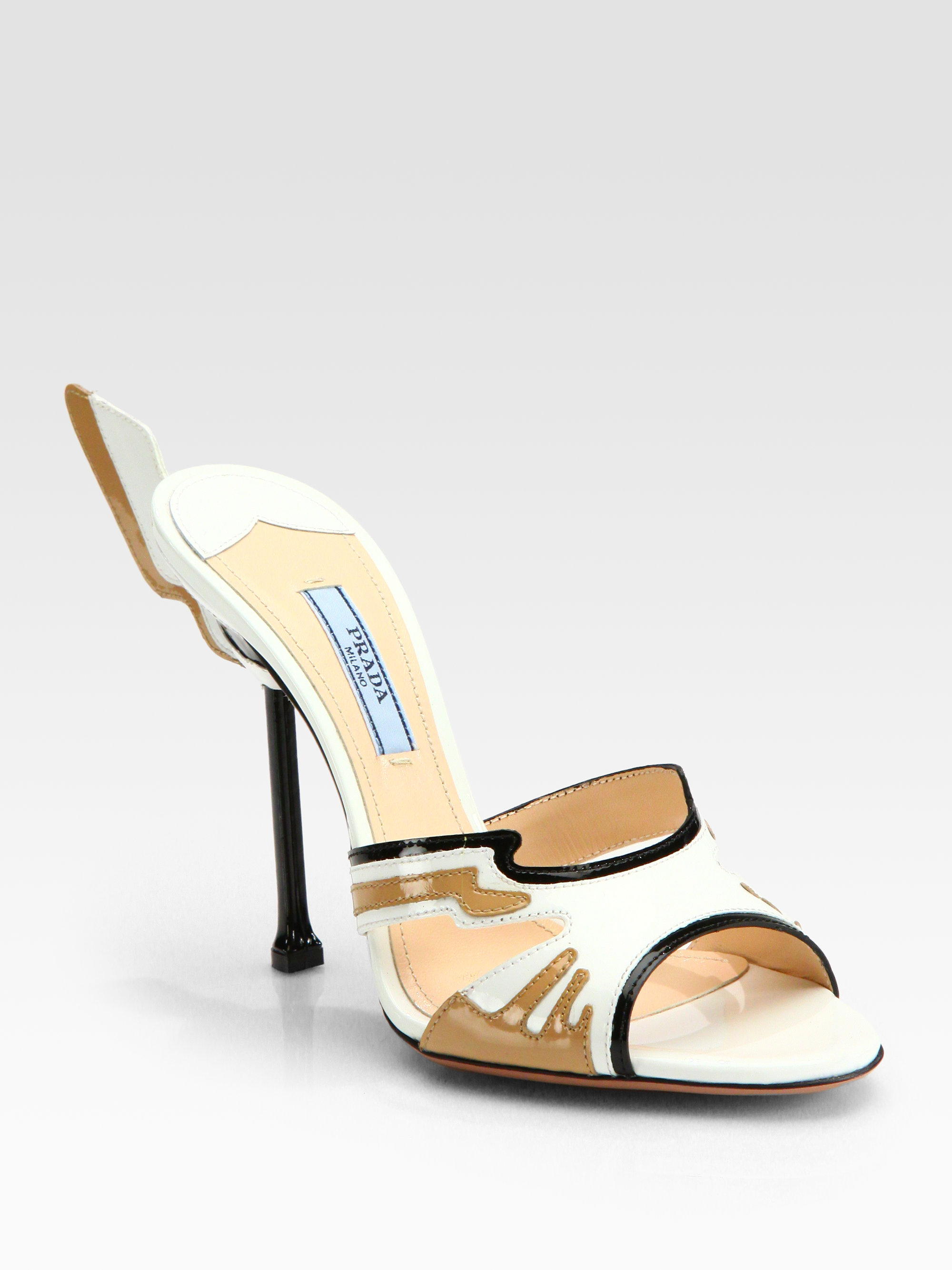 3b15bd935306 Lyst - Prada Patent Leather Flame Sandals in White