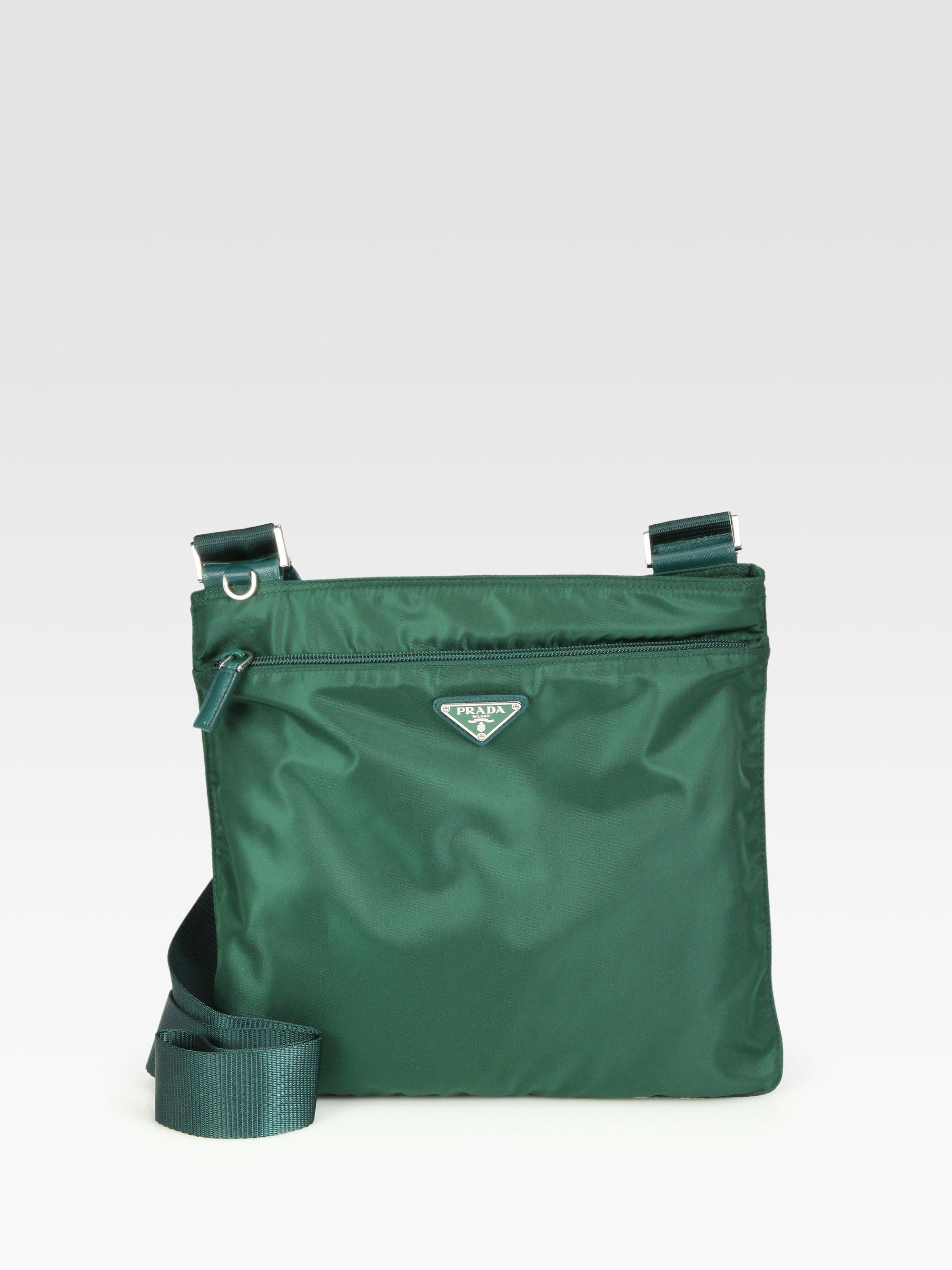 445b7ba1313d ... low cost lyst prada vela medium flat messenger in green b6412 d3c15