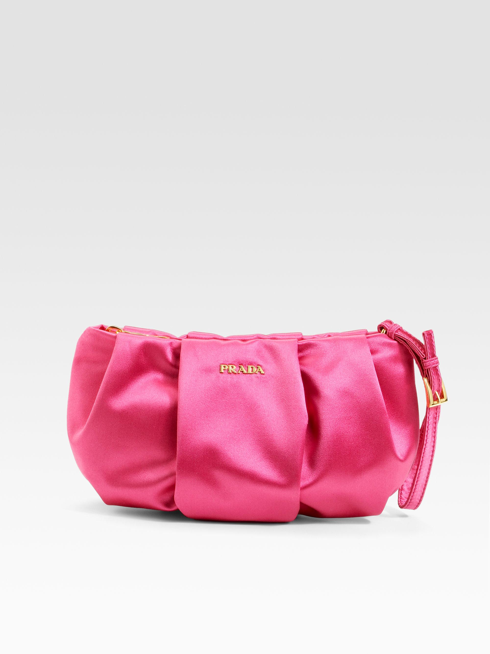 Prada Satin Wristlet Bag in Pink (fuxia)  6b3cdabd47ea0