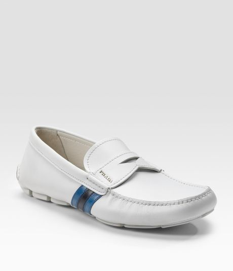 prada driving moccasins in white for gesso cobalto