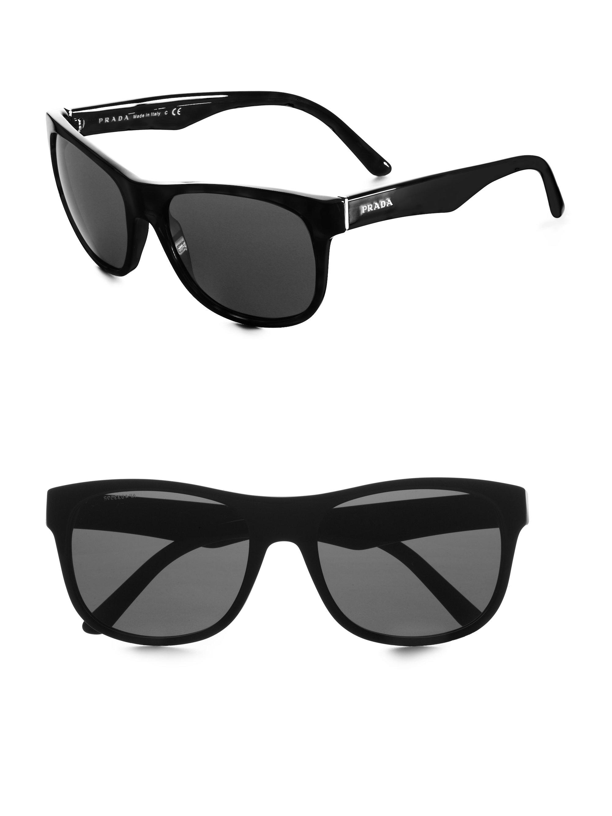 10f604a71df33 ... get lyst prada wayfarer sunglasses in black for men 591c7 276d3