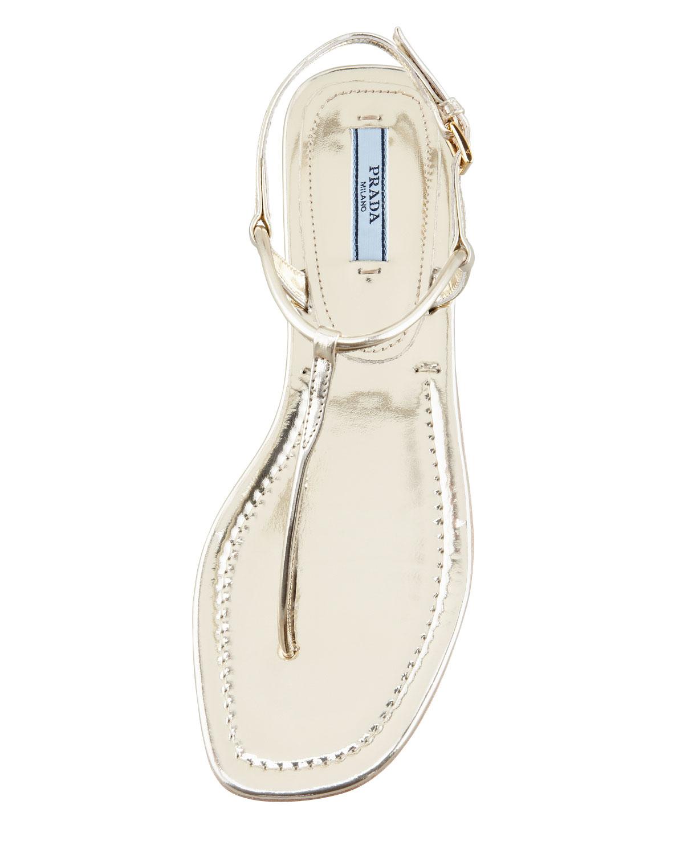 42610135e255 Lyst - Prada Flat Metallic Leather Thong Sandal Gol in Natural