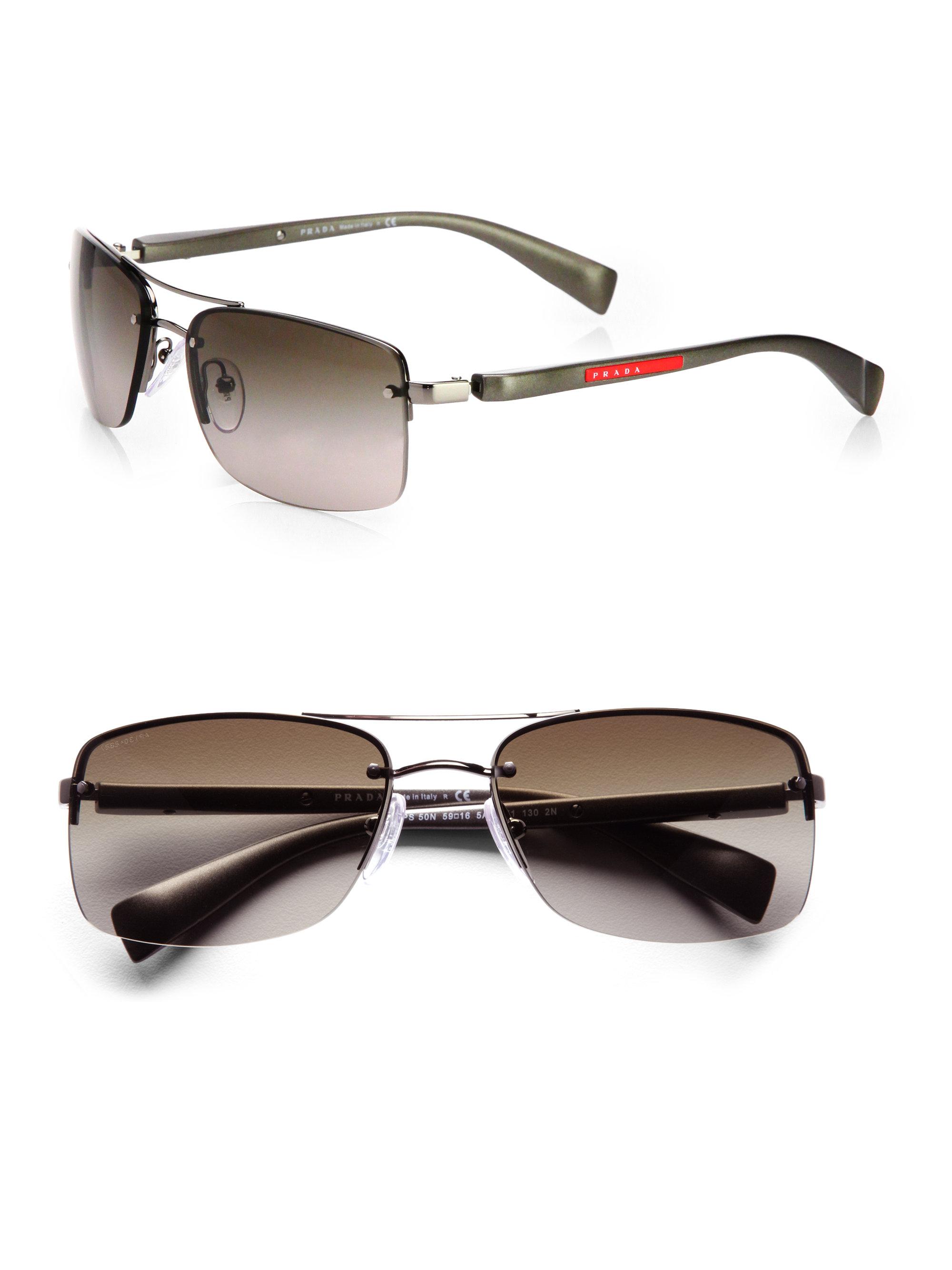 Prada Metal Rectangular Sunglasses In Gray For Men Lyst
