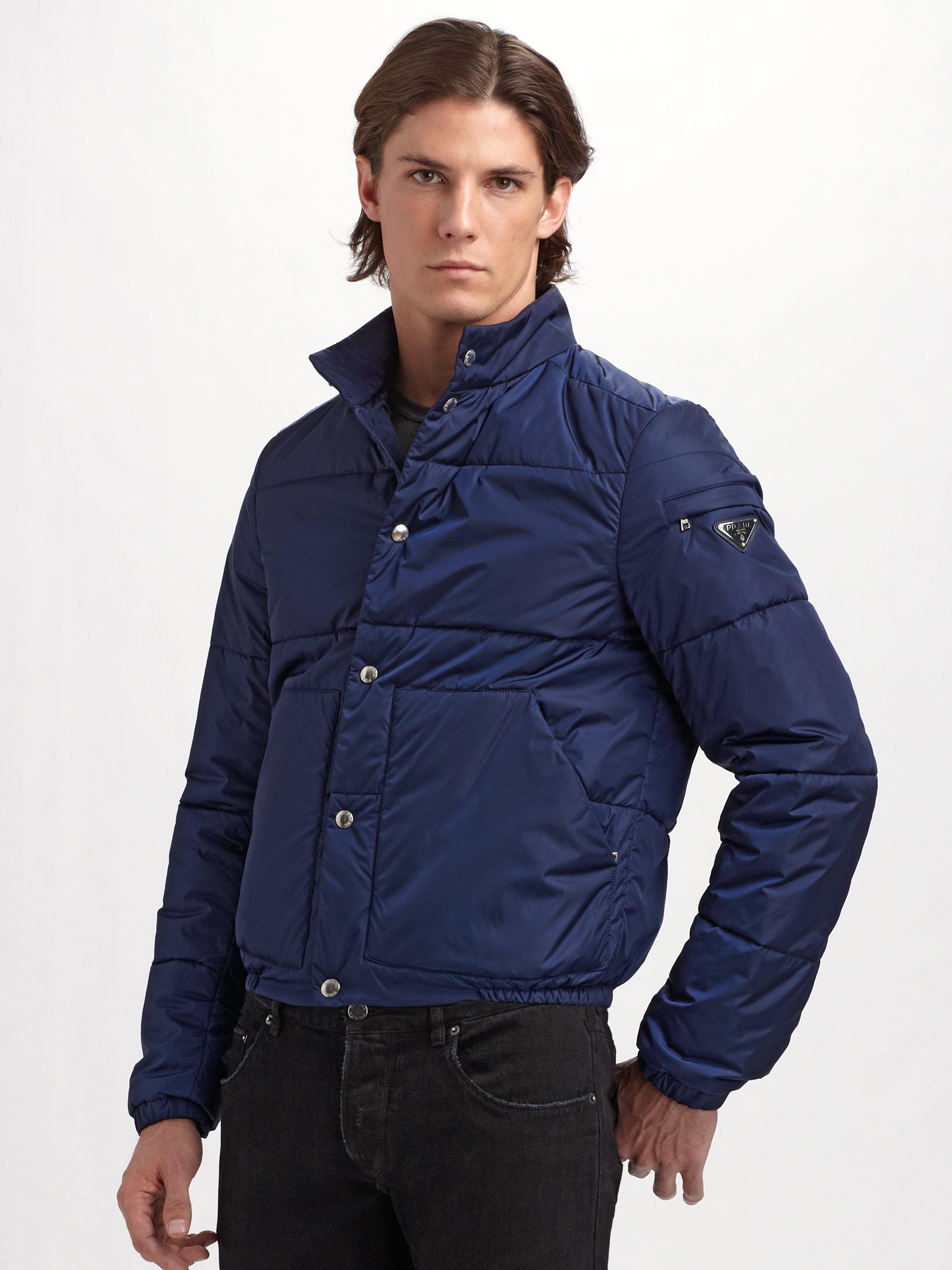 Lyst Prada Nylon Puffer Jacket In Blue For Men