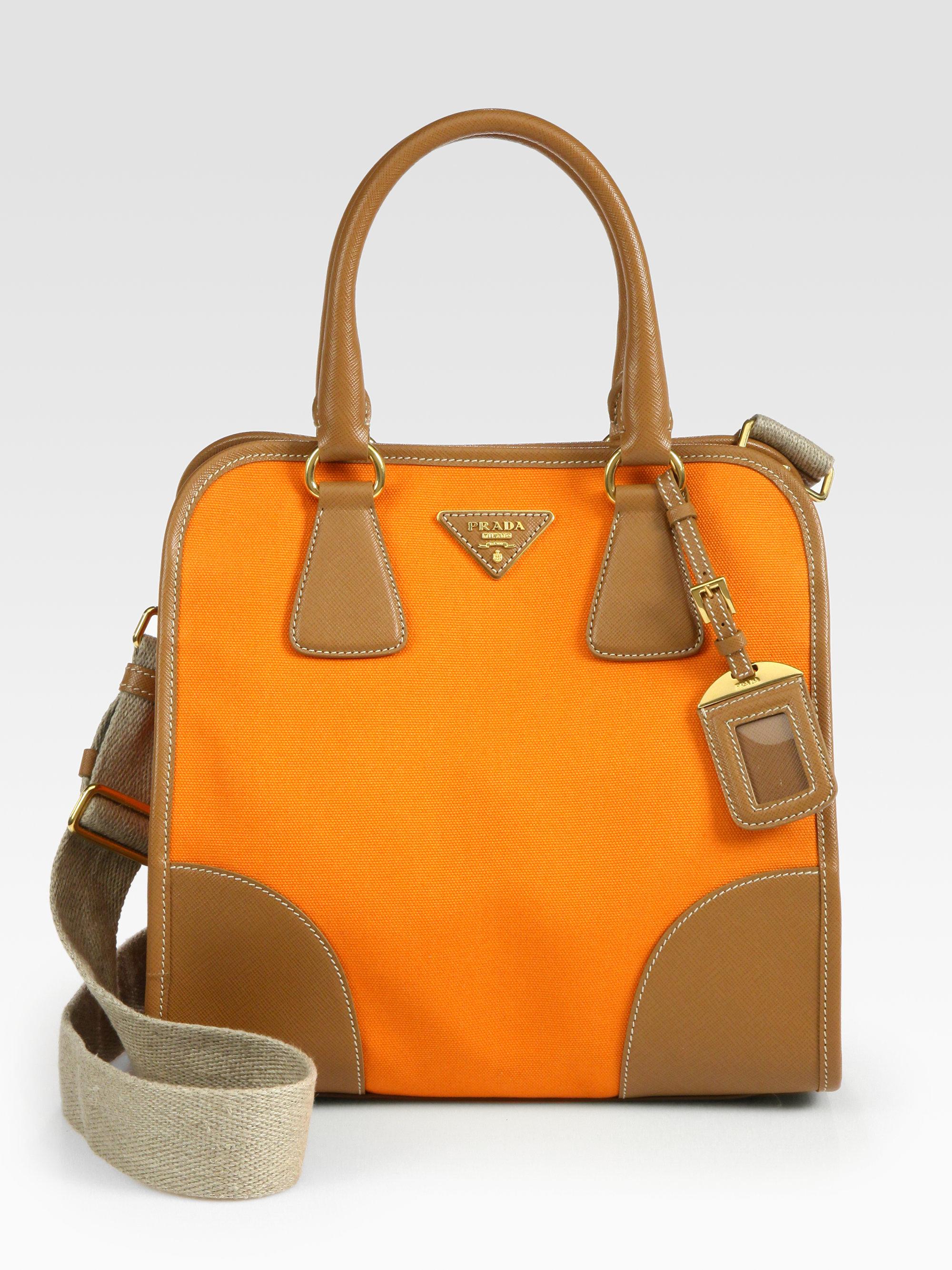Prada Saffiano Leather Canvas Tote Bag In Papaya Orange