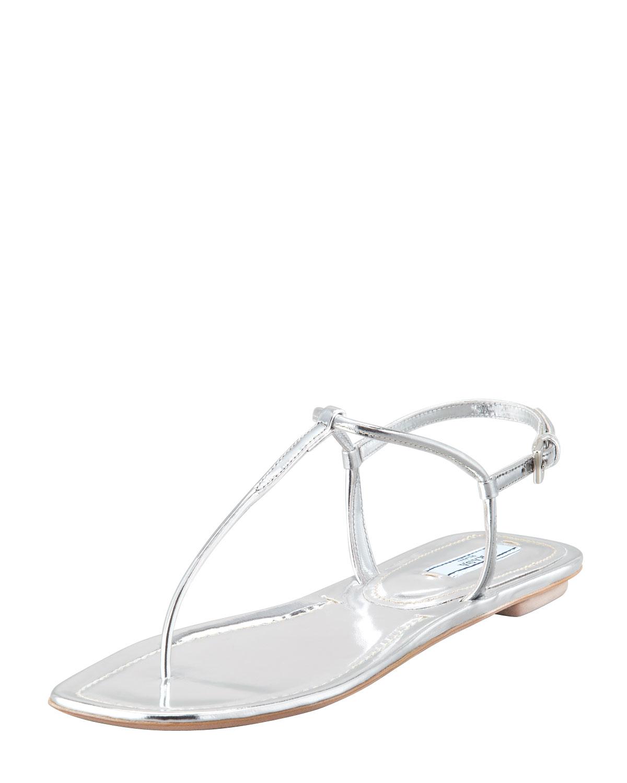af315904a503 Lyst - Prada Flat Metallic Leather Thong Sandal Silve in Metallic