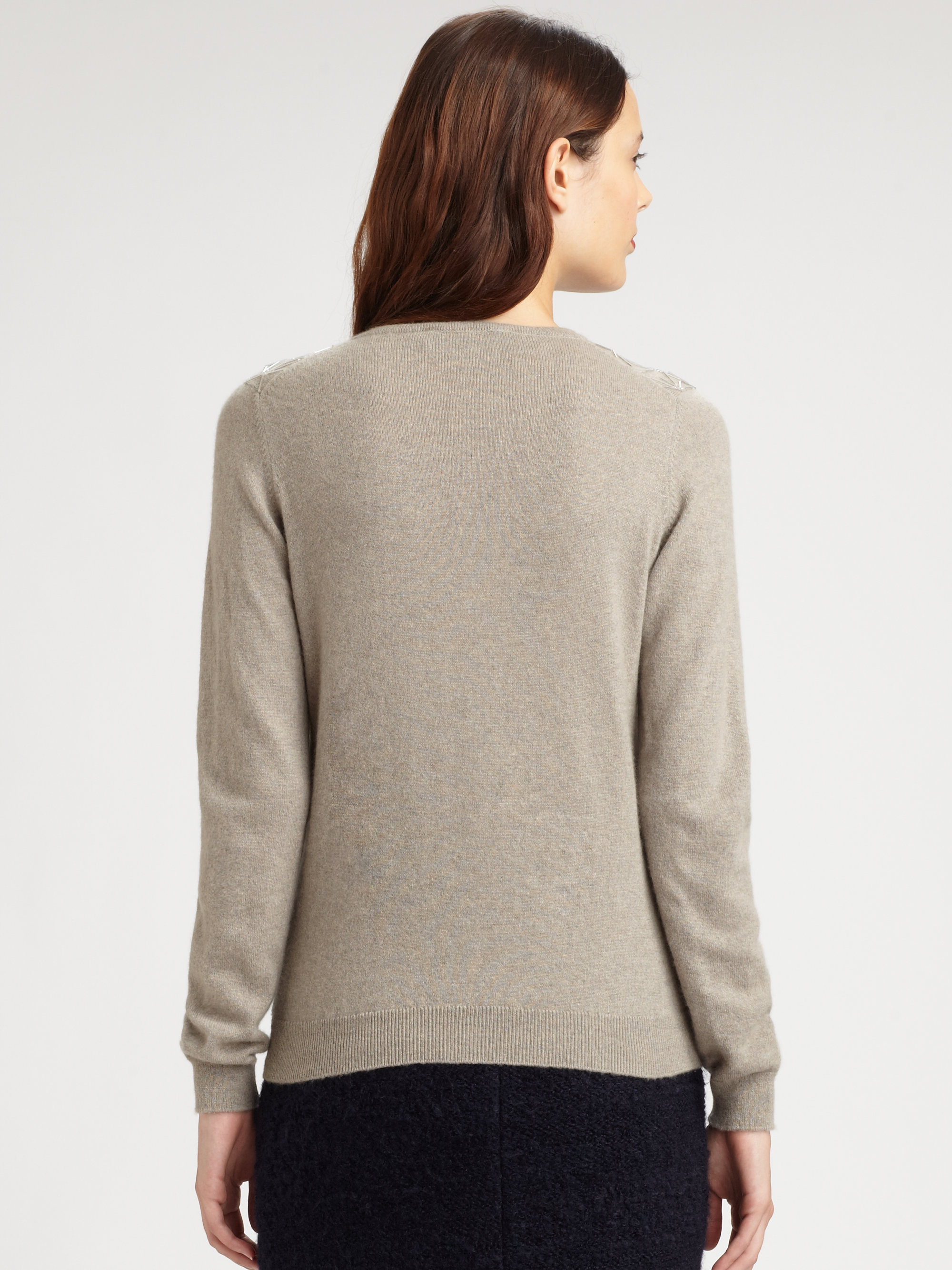 Pringle of scotland Beaded Cashmere Sweater in Gray | Lyst