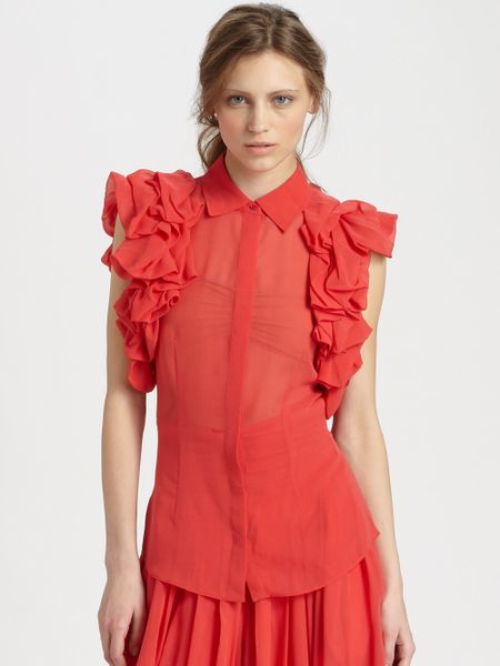 Rachel Zoe Camilla Silk Ruffle Blouse in Red (poppy)