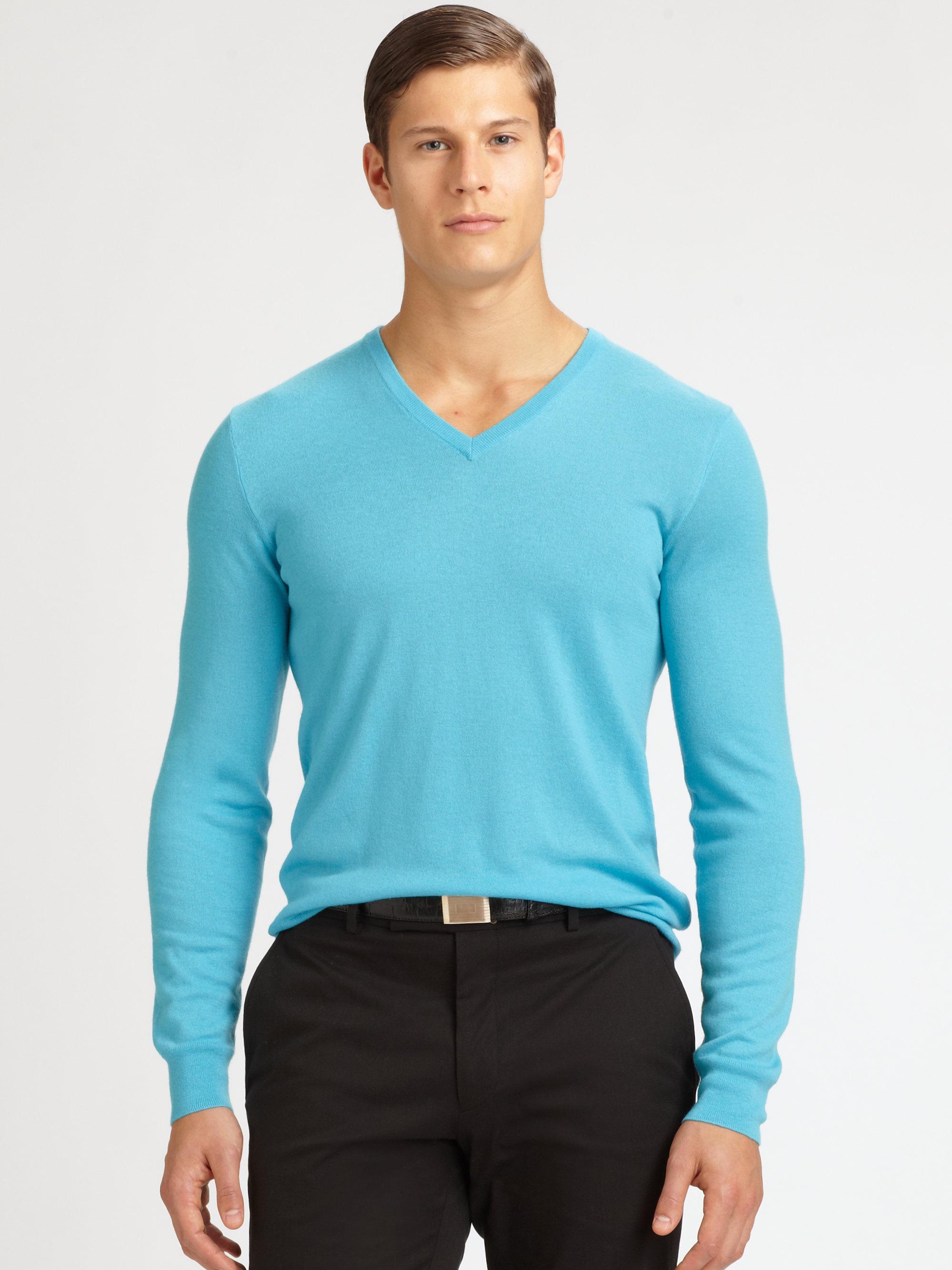 Ralph lauren black label Cashmere V-neck Sweater in Blue for Men ...