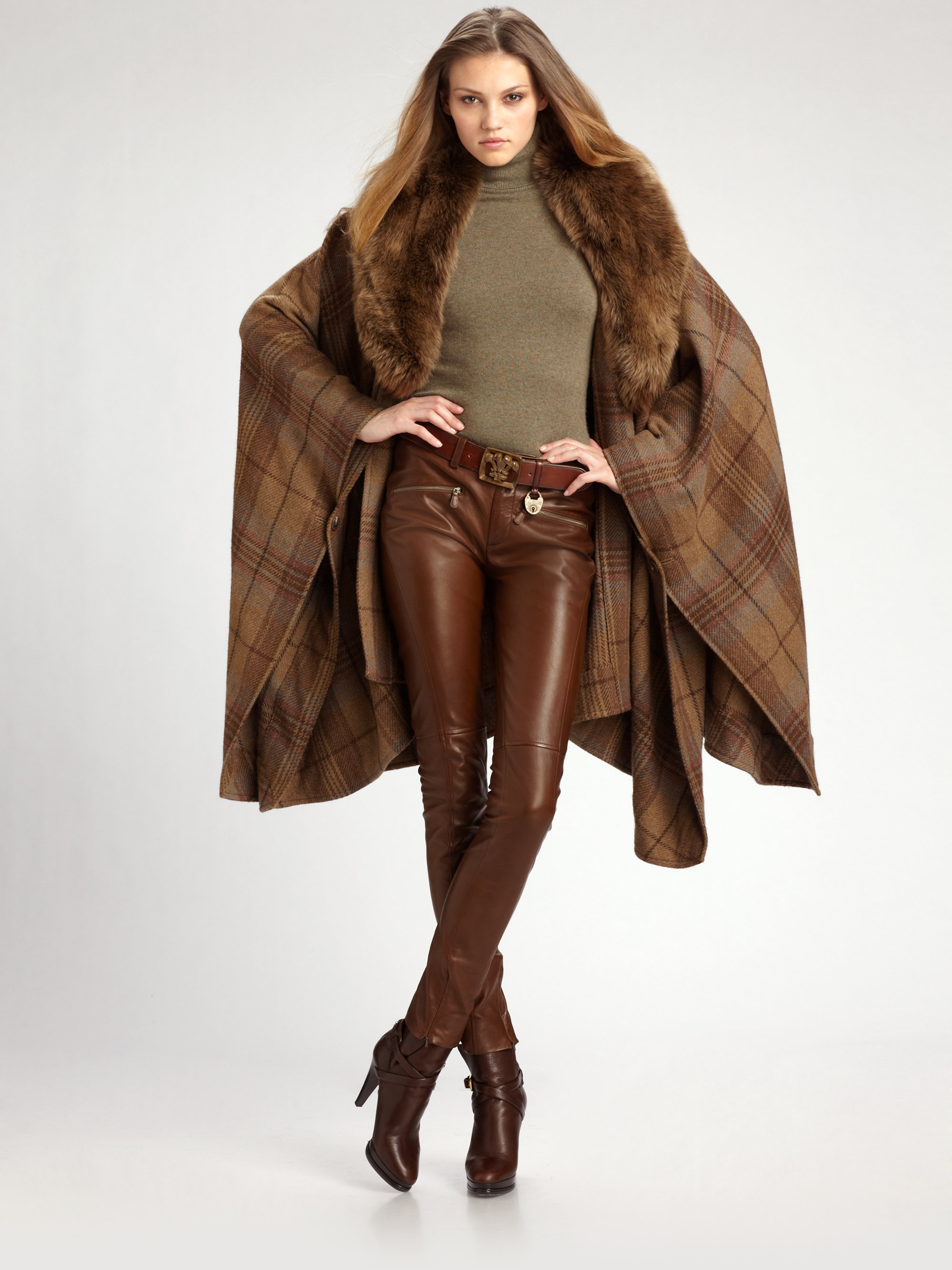 Lyst Ralph Lauren Blue Label Dunlop Plaid Cape In Brown