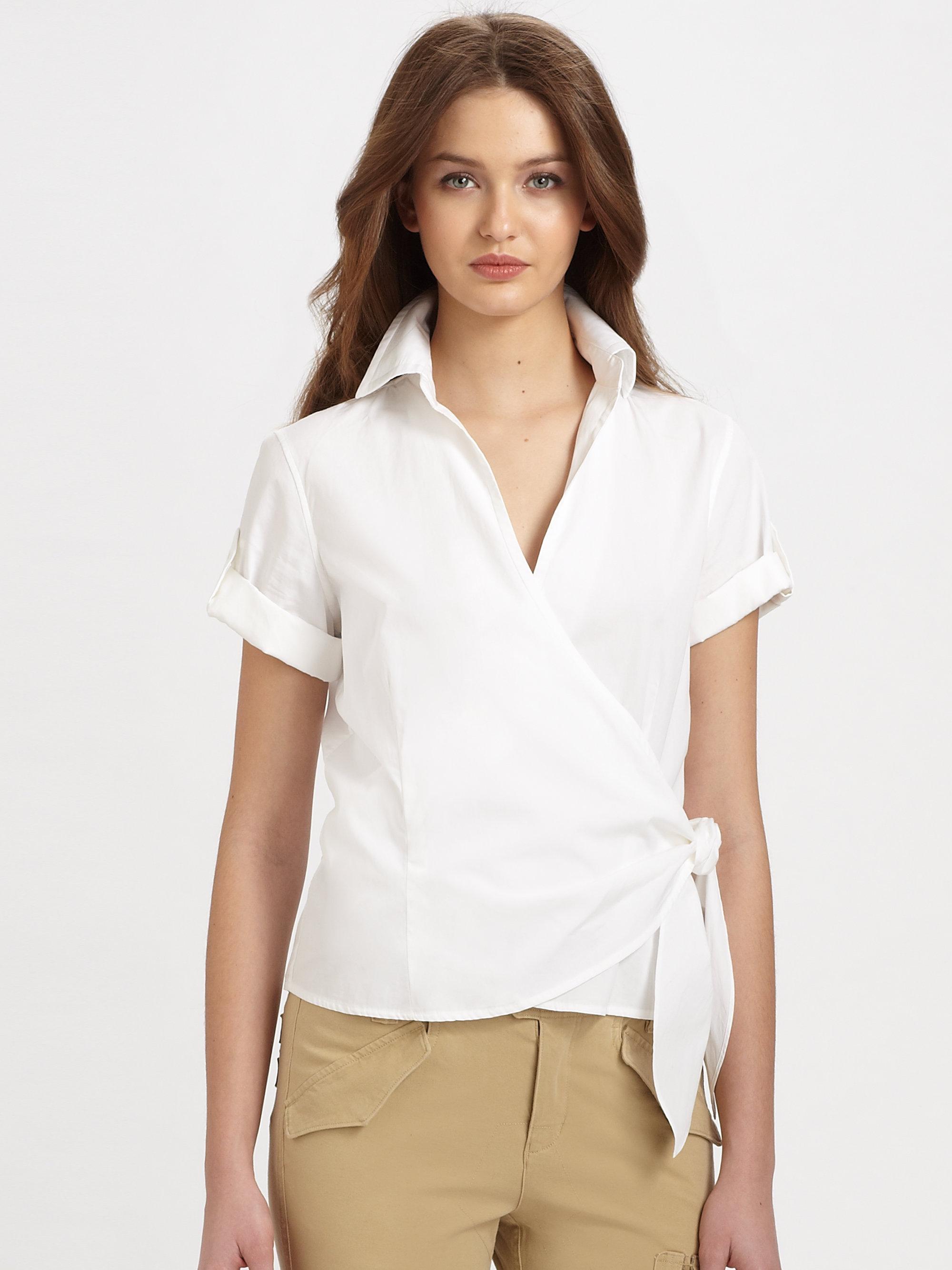 1ca74ecaa43b3 Lyst - Ralph Lauren Blue Label Cotton Shani Wrap Shirt in White