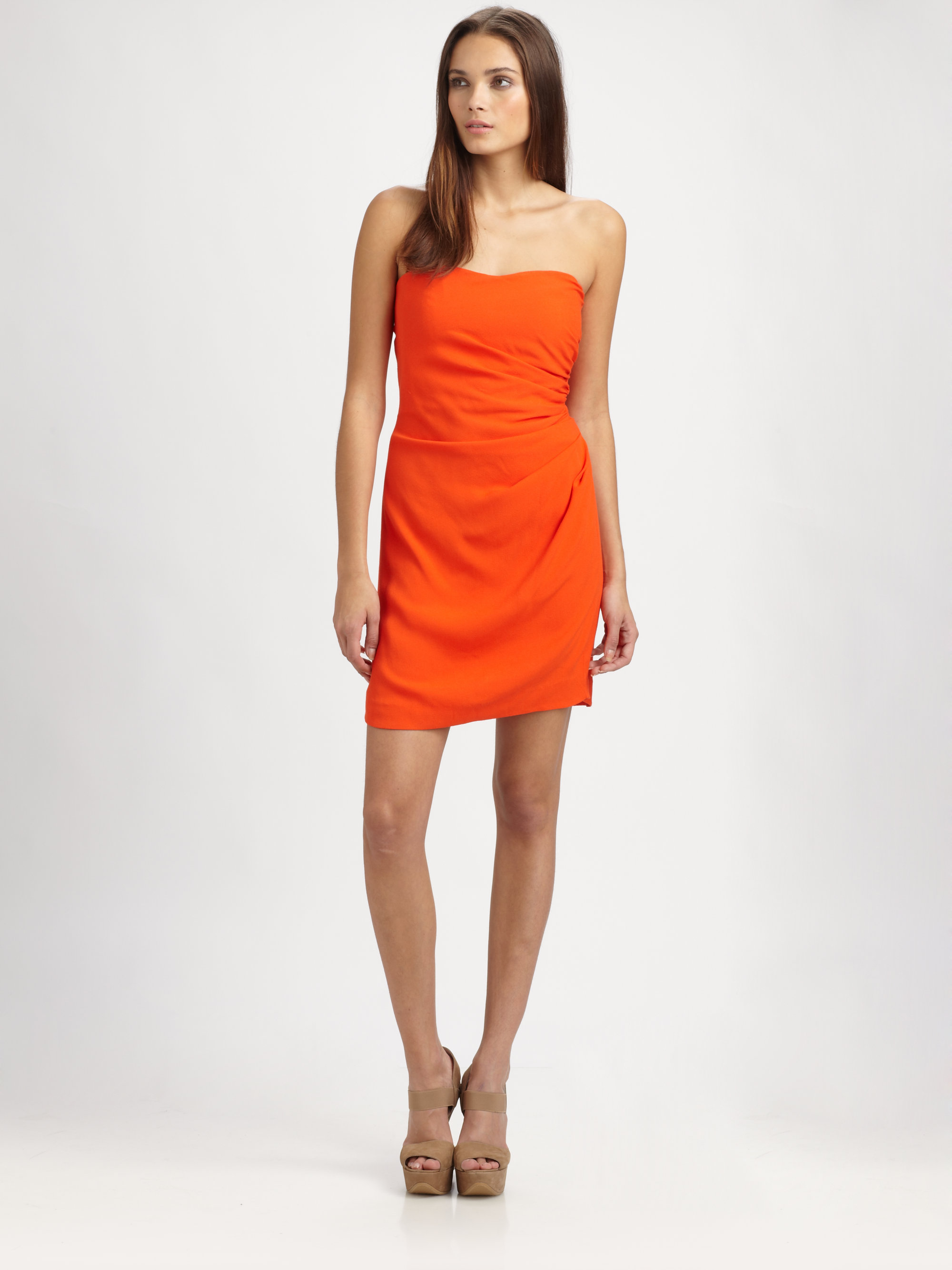 Rebecca taylor Ruched Strapless Dress in Orange | Lyst