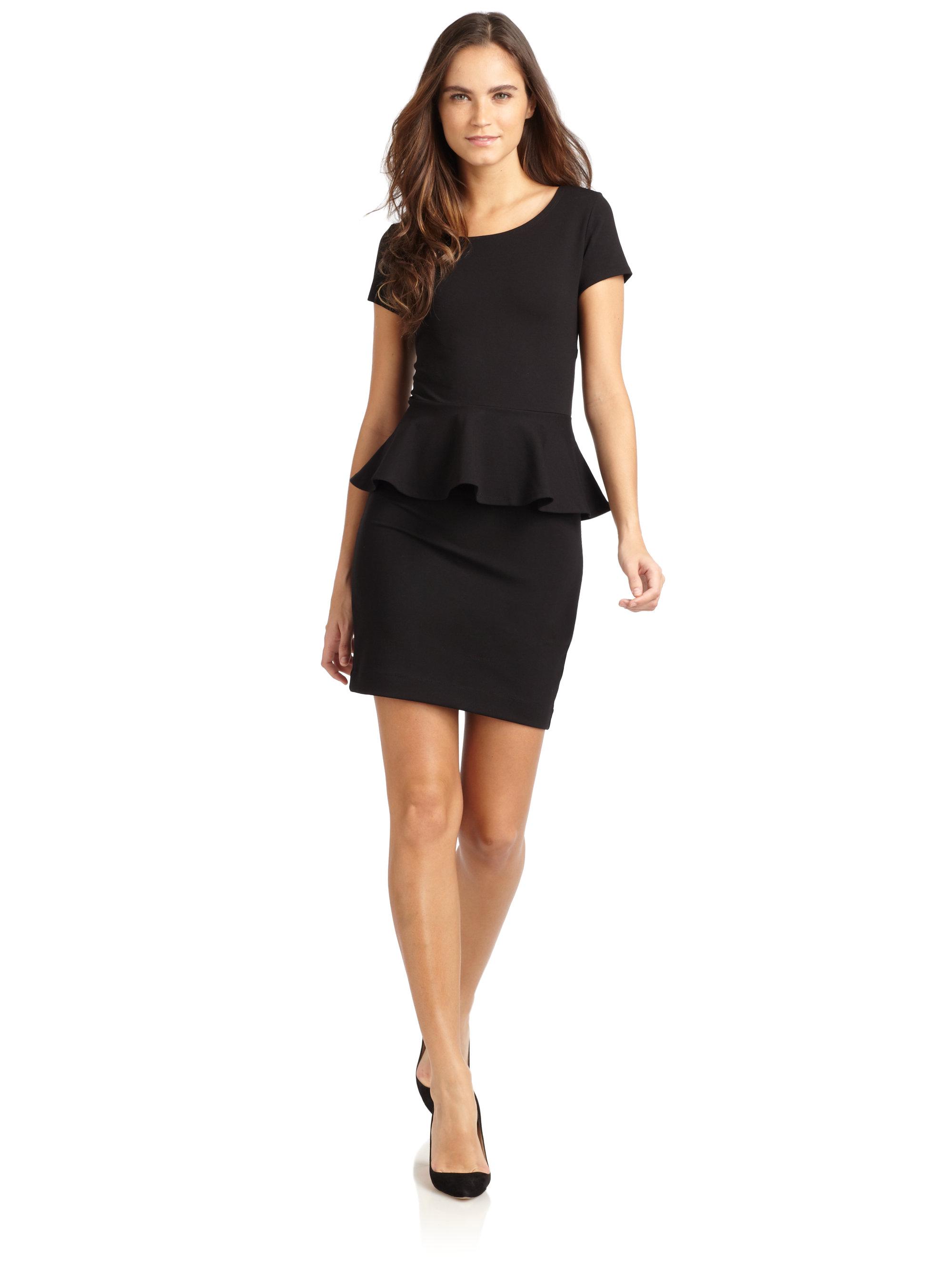 Lyst - Saks Fifth Avenue Pont233 Peplum Dress in Black