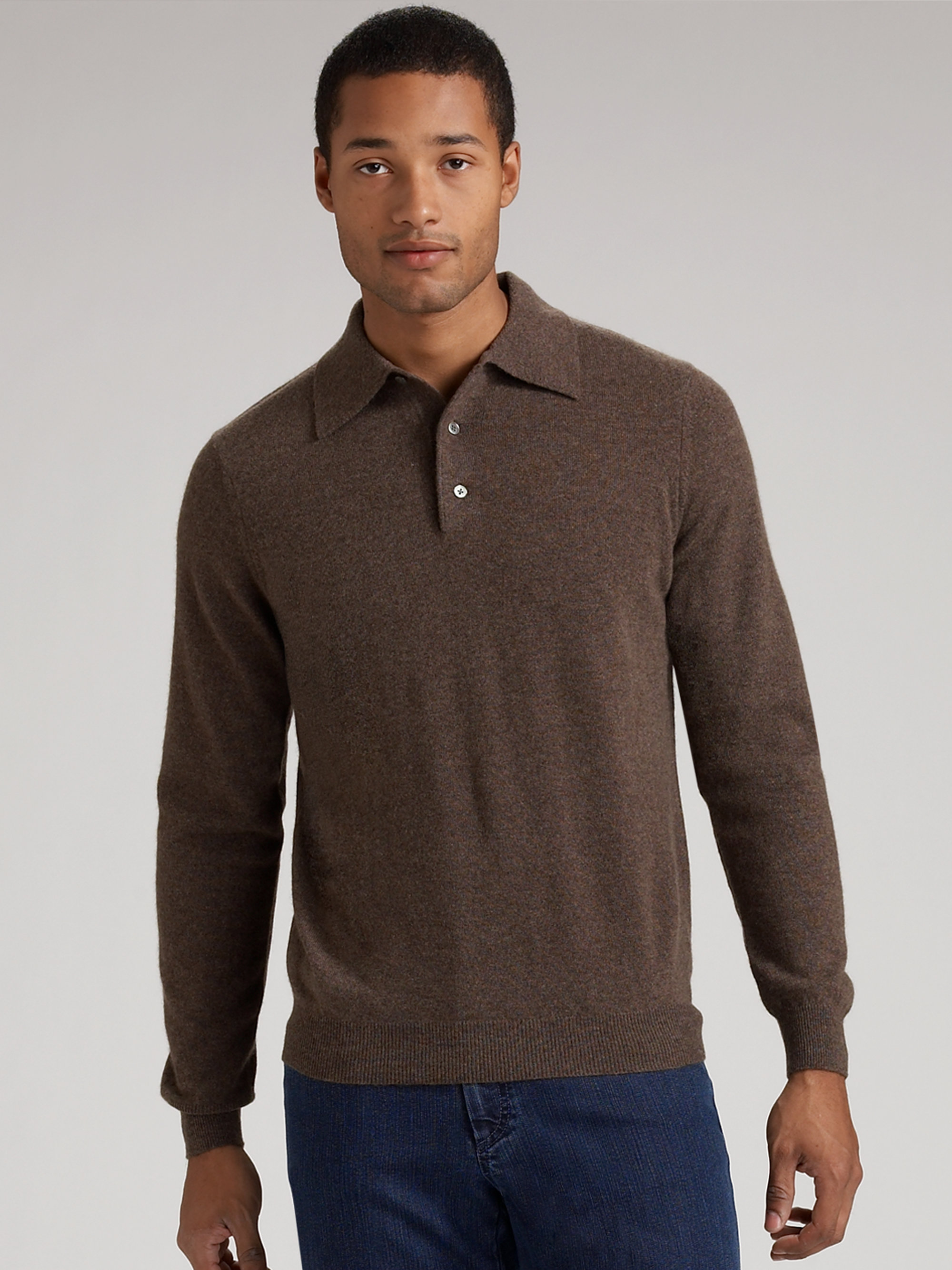 Saks fifth avenue Cashmere Polo Sweater in Brown for Men | Lyst