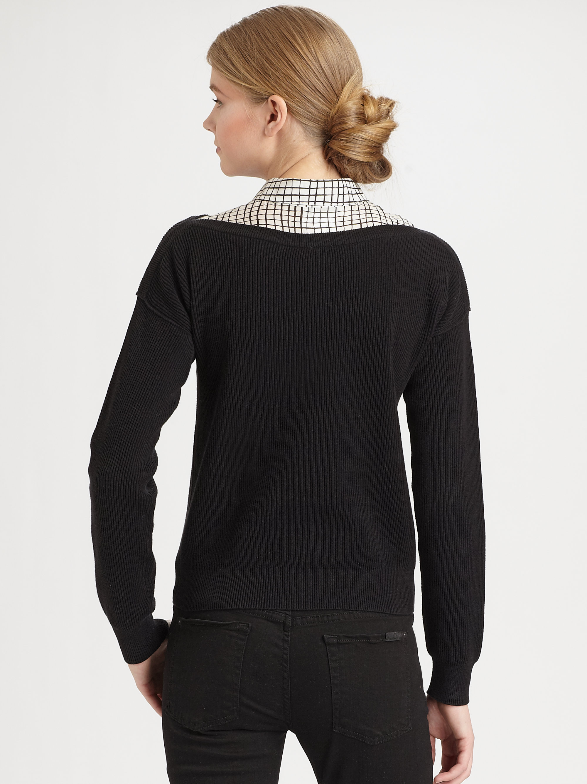 Lyst Sonia By Sonia Rykiel Layered Collared Sweater In Black