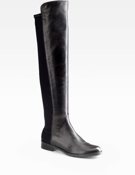 stuart weitzman black 5050 leather the knee boots