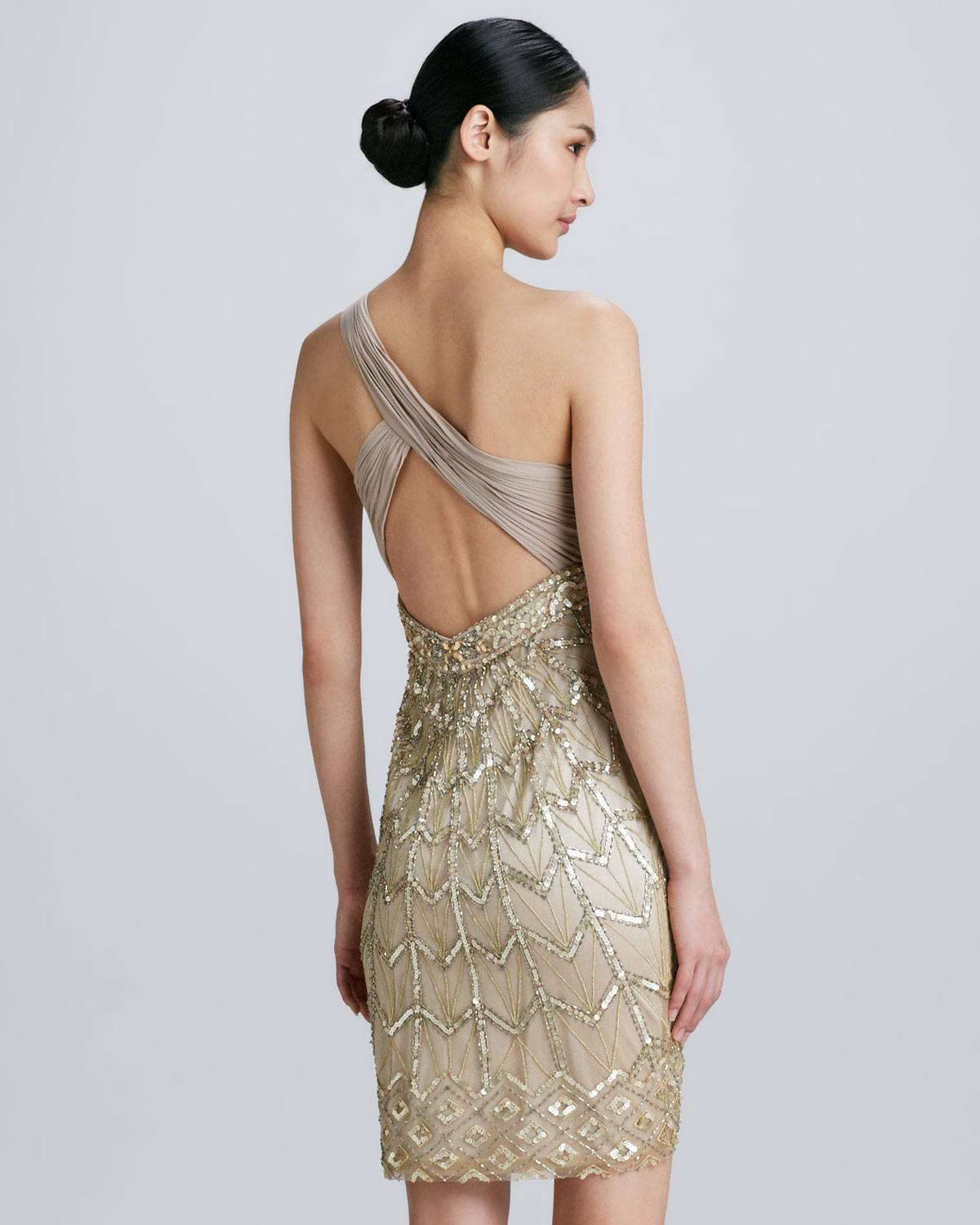 Sue wong Oneshoulder Beaded Cocktail Dress in Metallic | Lyst