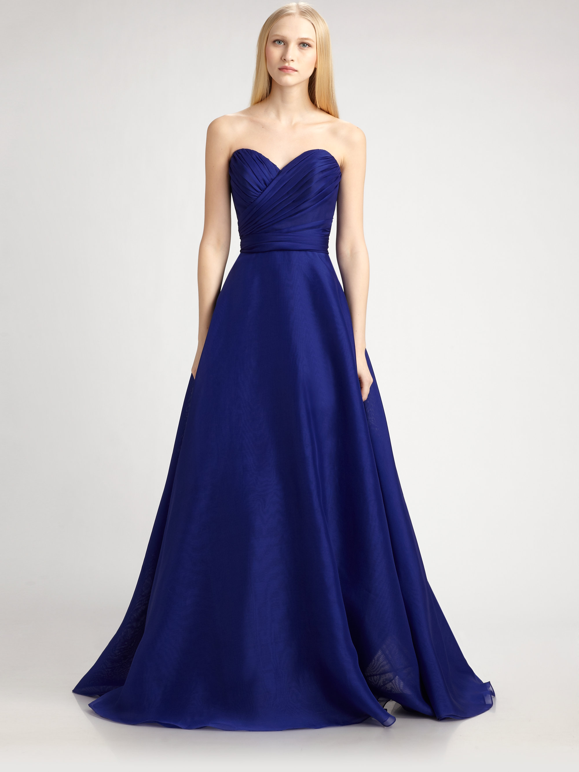 Theia Silk Organza Ball Gown in Blue | Lyst