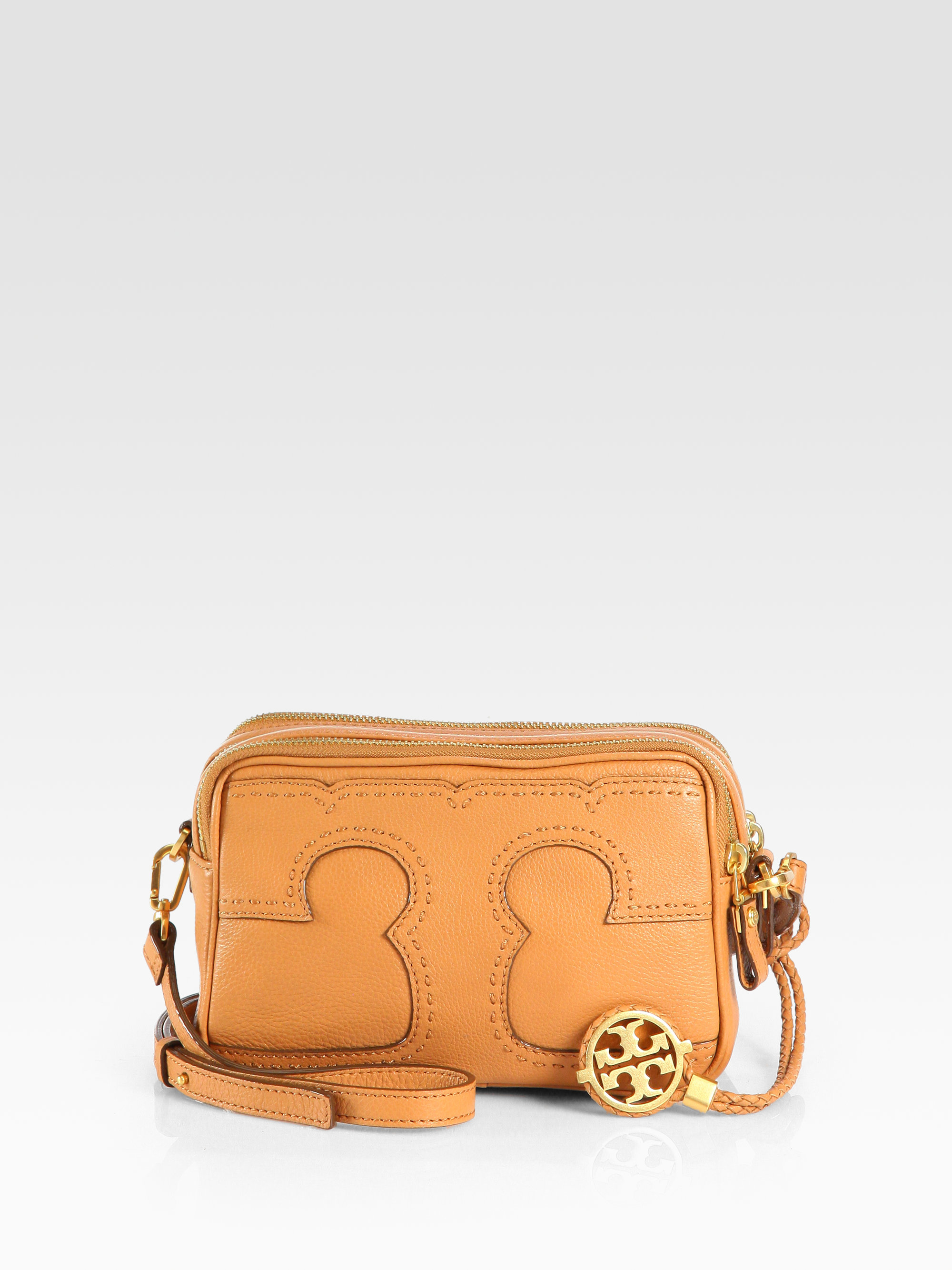 cf576d237a Tory Burch Amalie Emblem Mini Crossbody Bag in Brown - Lyst