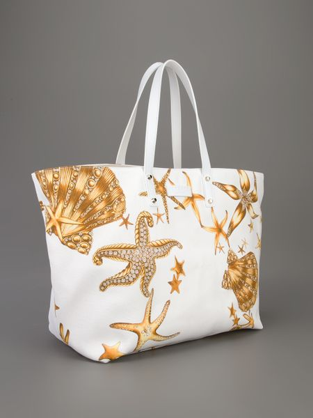 Versace Printed Beach Tote In White Lyst