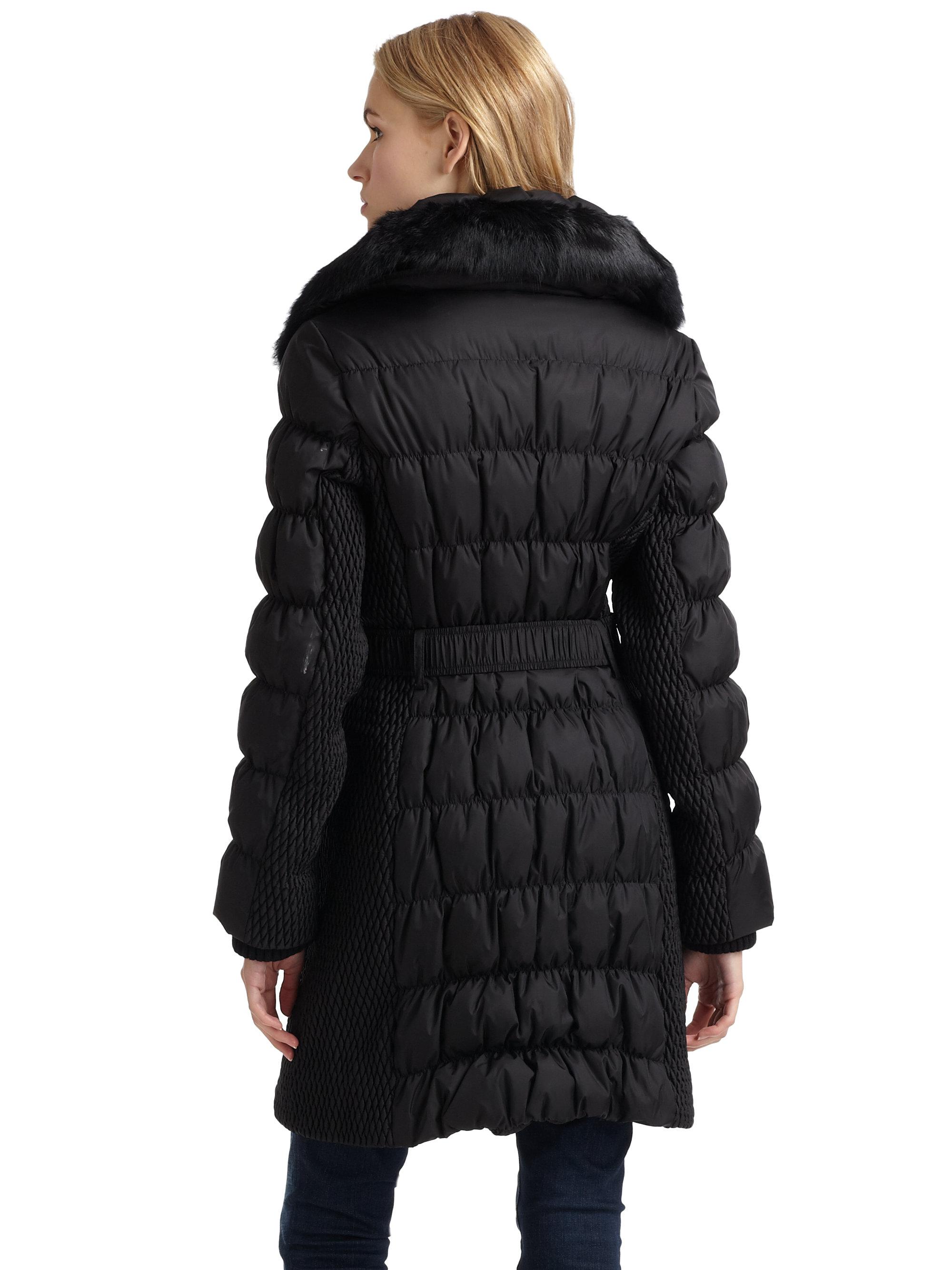 Via Spiga Belted Rabbit Furcollar Puffer Coat In Black Lyst