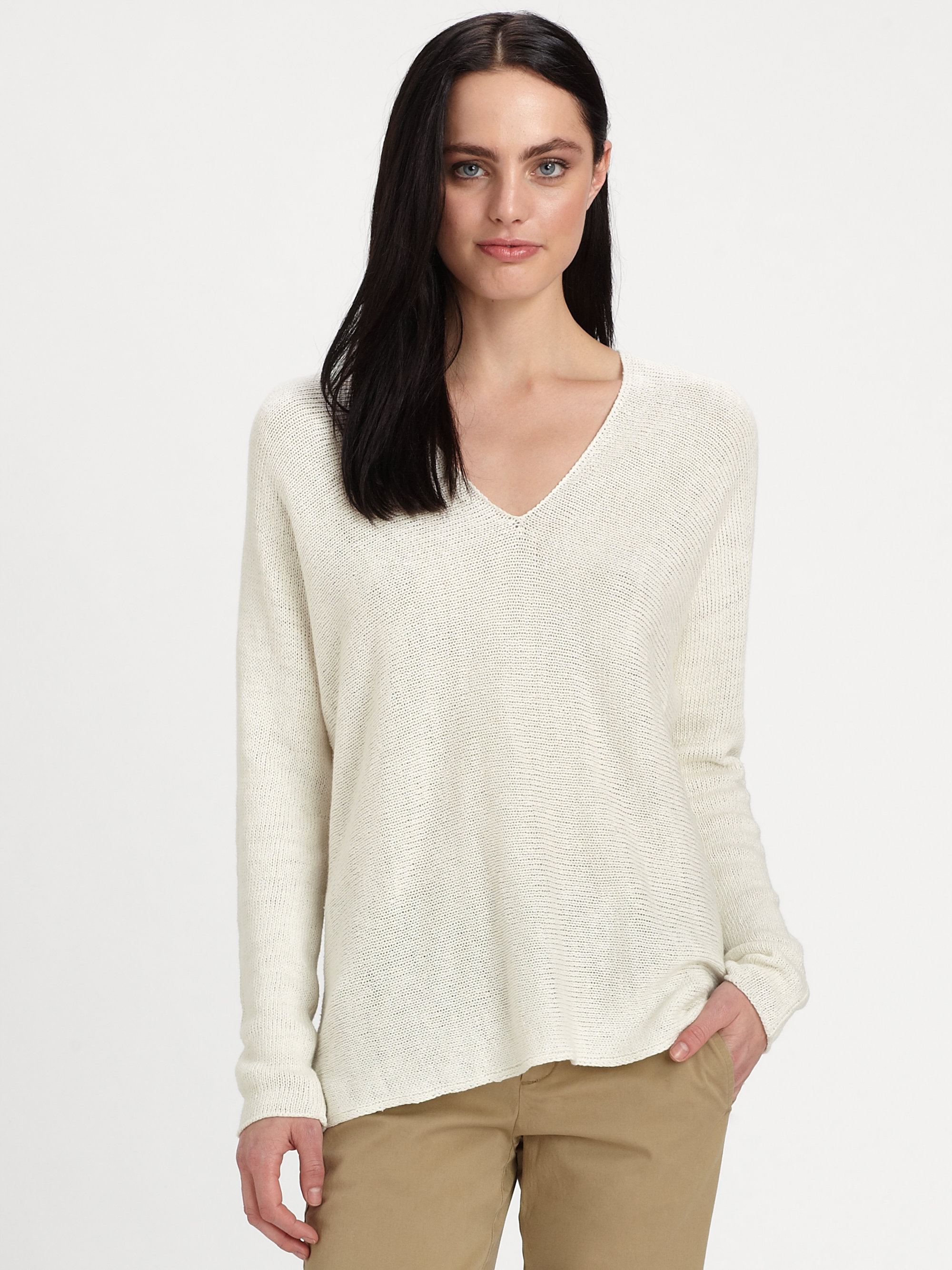 vince linen sweater in white off white lyst. Black Bedroom Furniture Sets. Home Design Ideas