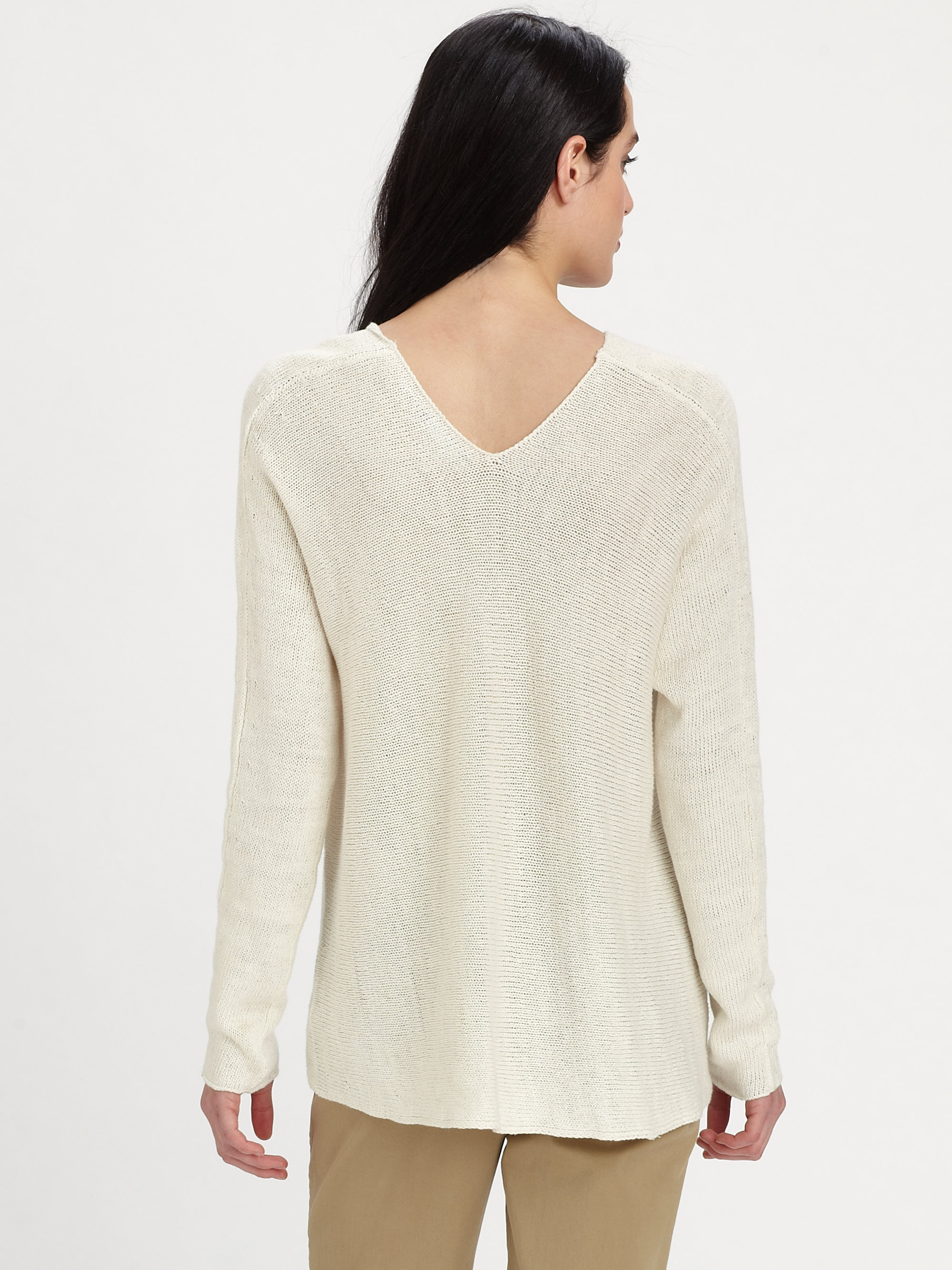 Vince Linen Sweater In White Lyst