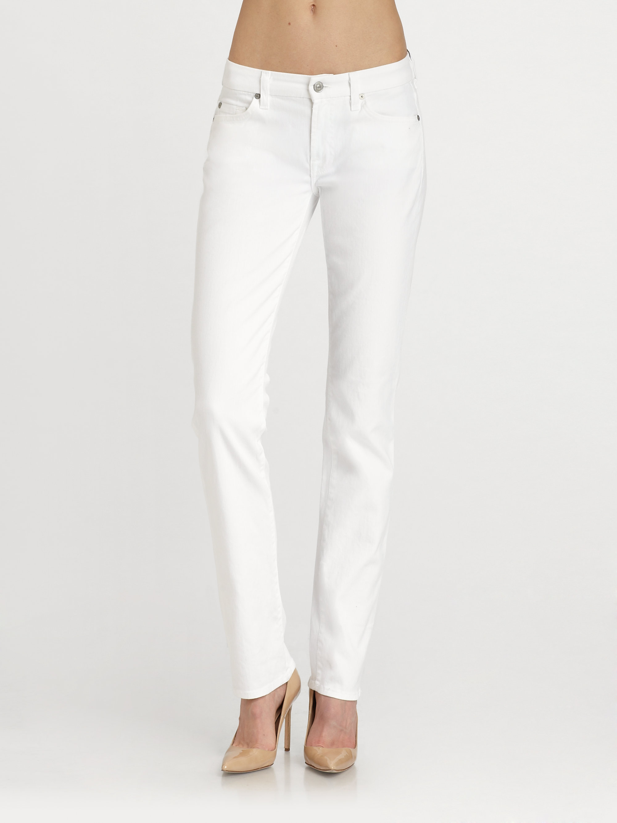 7 for all mankind Kimmie Straight-Leg Jeans in White | Lyst