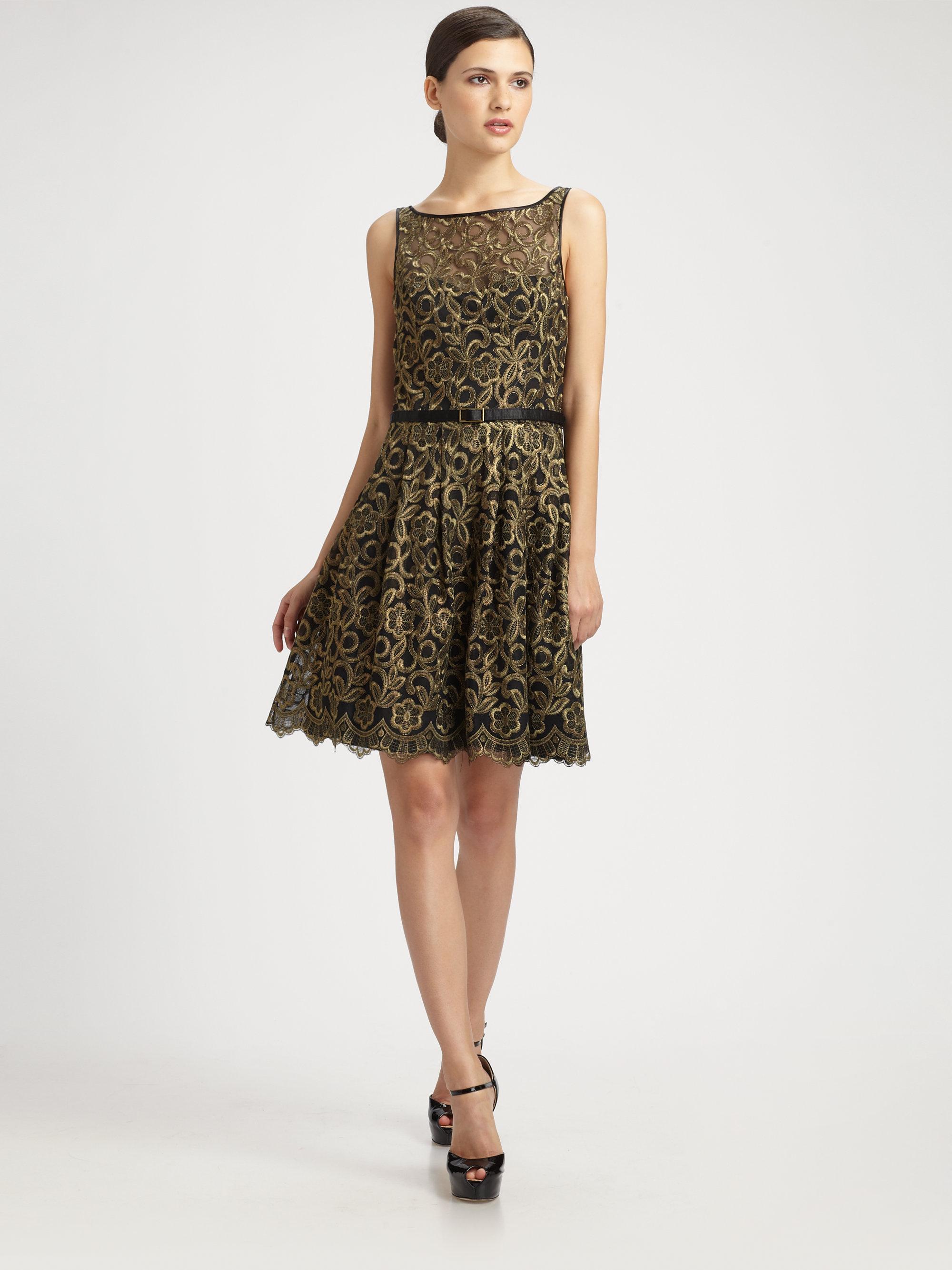 Aidan mattox gold lace dress