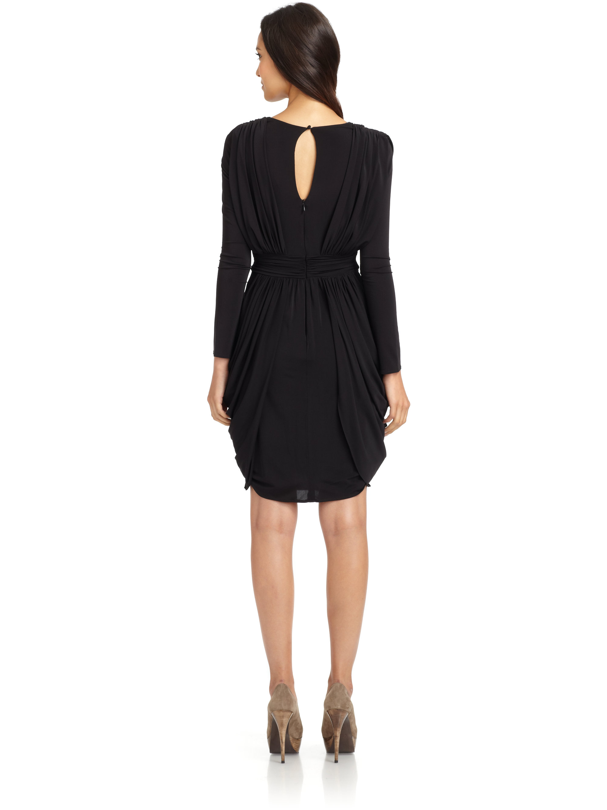 Bcbgmaxazria Lark Draped Cocktail Dress in Black | Lyst