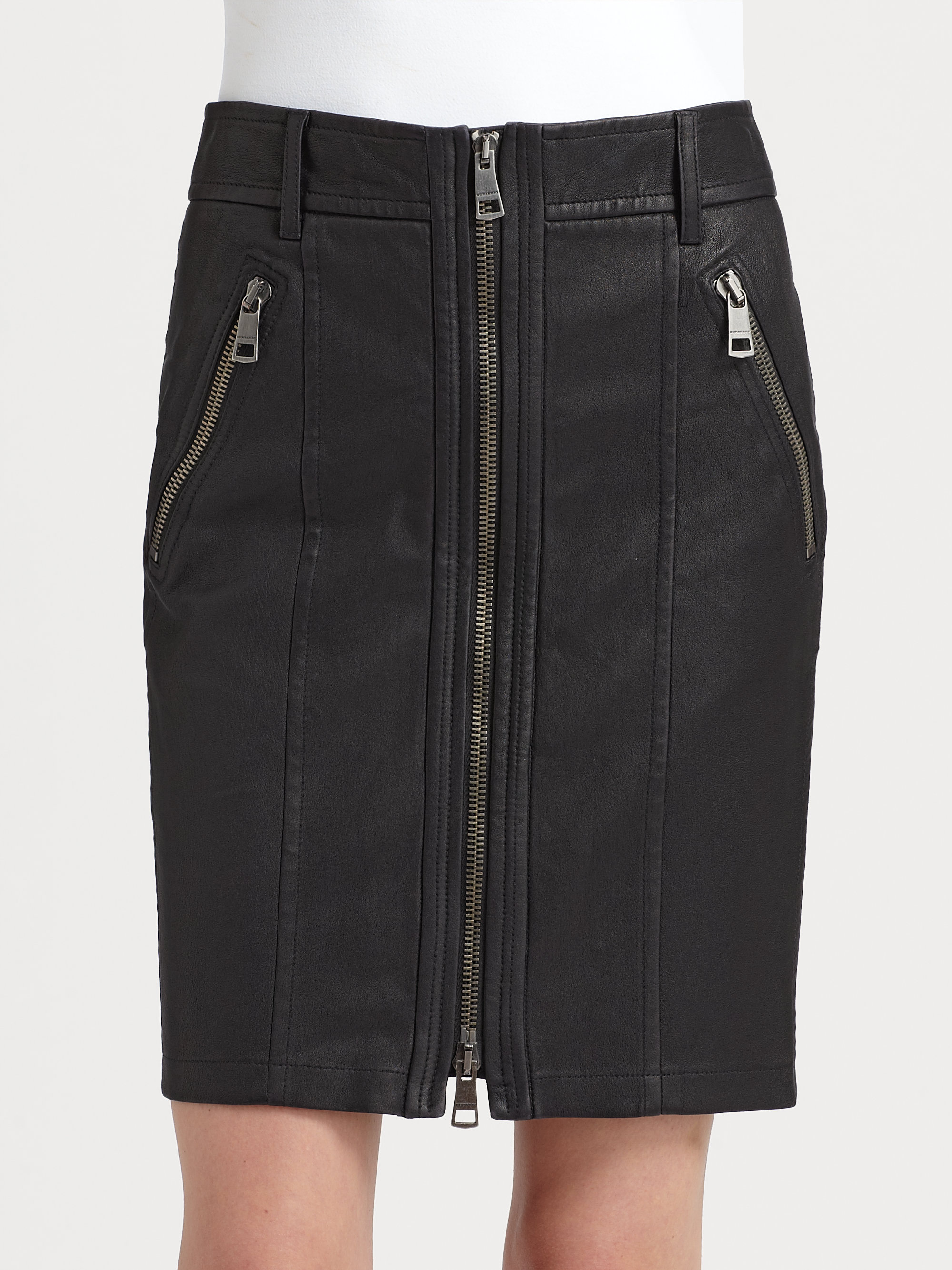 burberry brit washed leather pencil skirt in black lyst