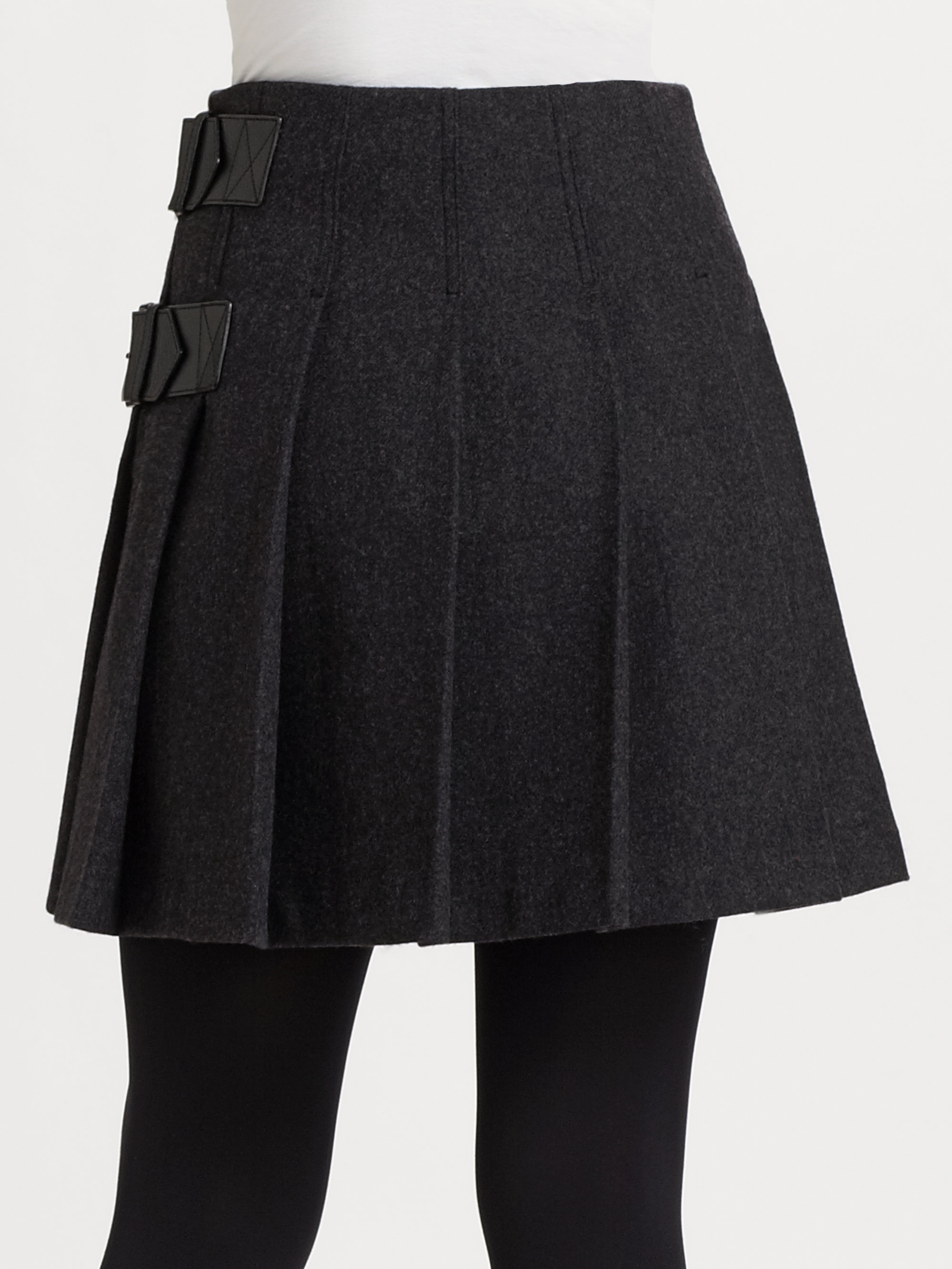 burberry brit pleated wool skirt in gray lyst