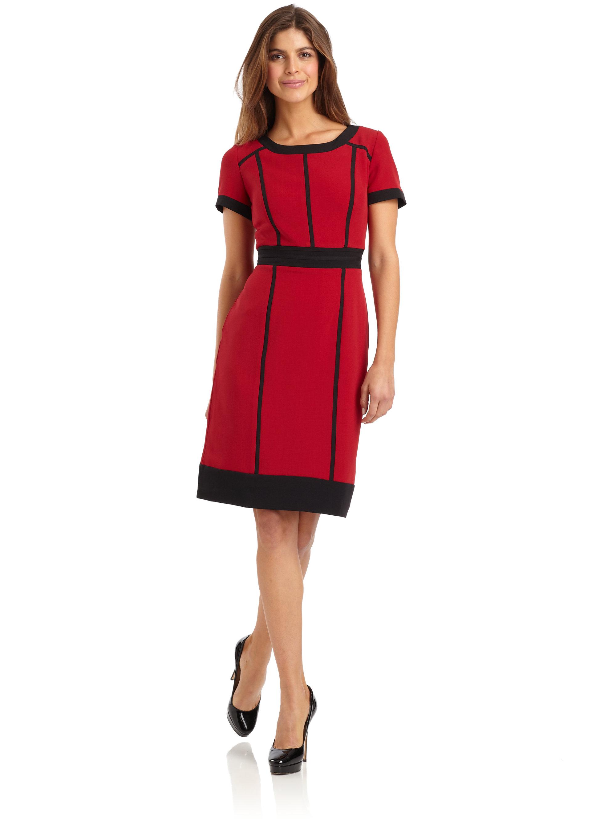 Chetta b Colorblock Dress in Red