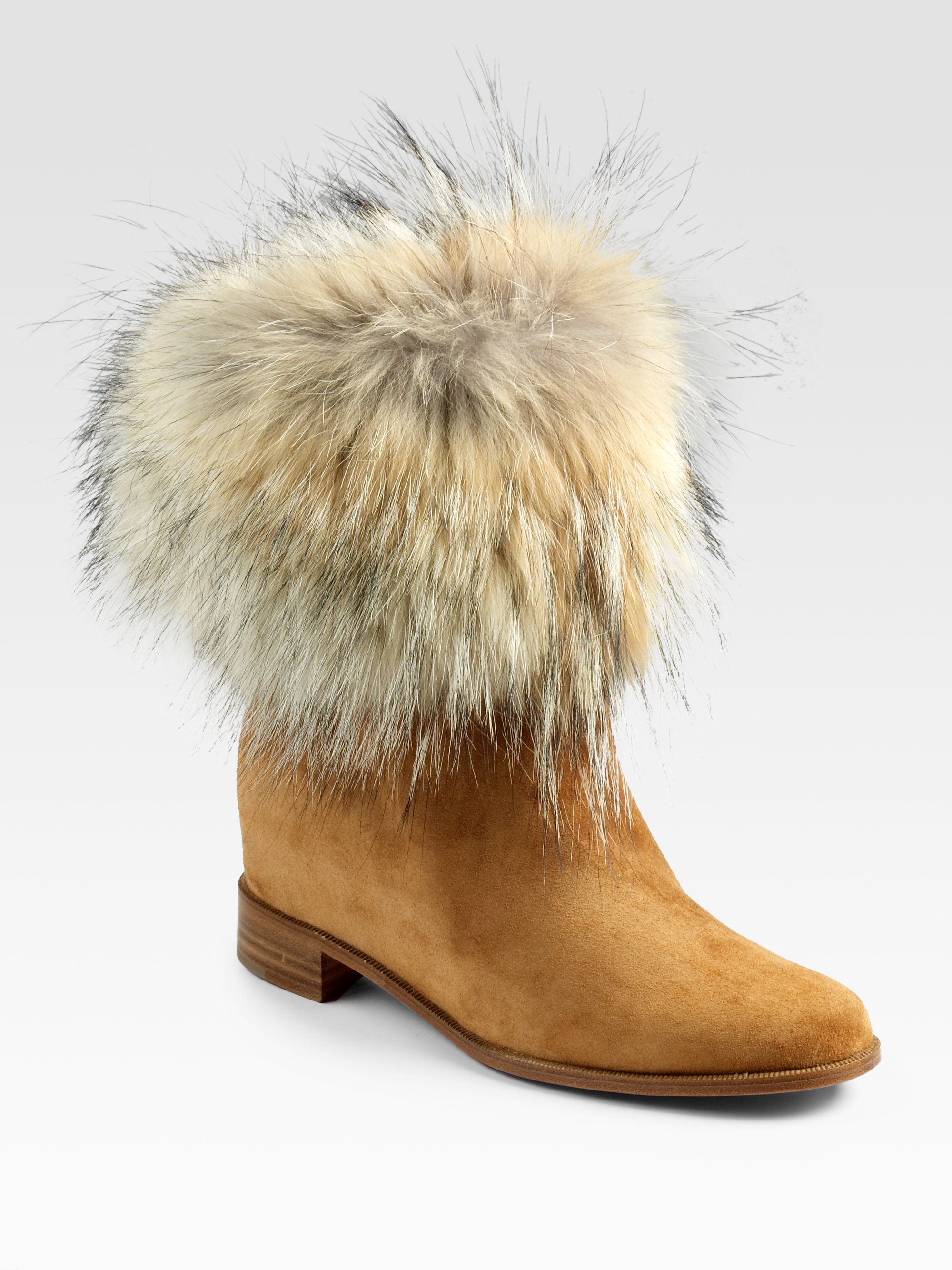 93fe8e3d9fa2 ... toundra coyote fur trimmed suede ankle 0651e e1b00  buy lyst christian  louboutin mazurka coyote fur suede boots in brown 778da c0039