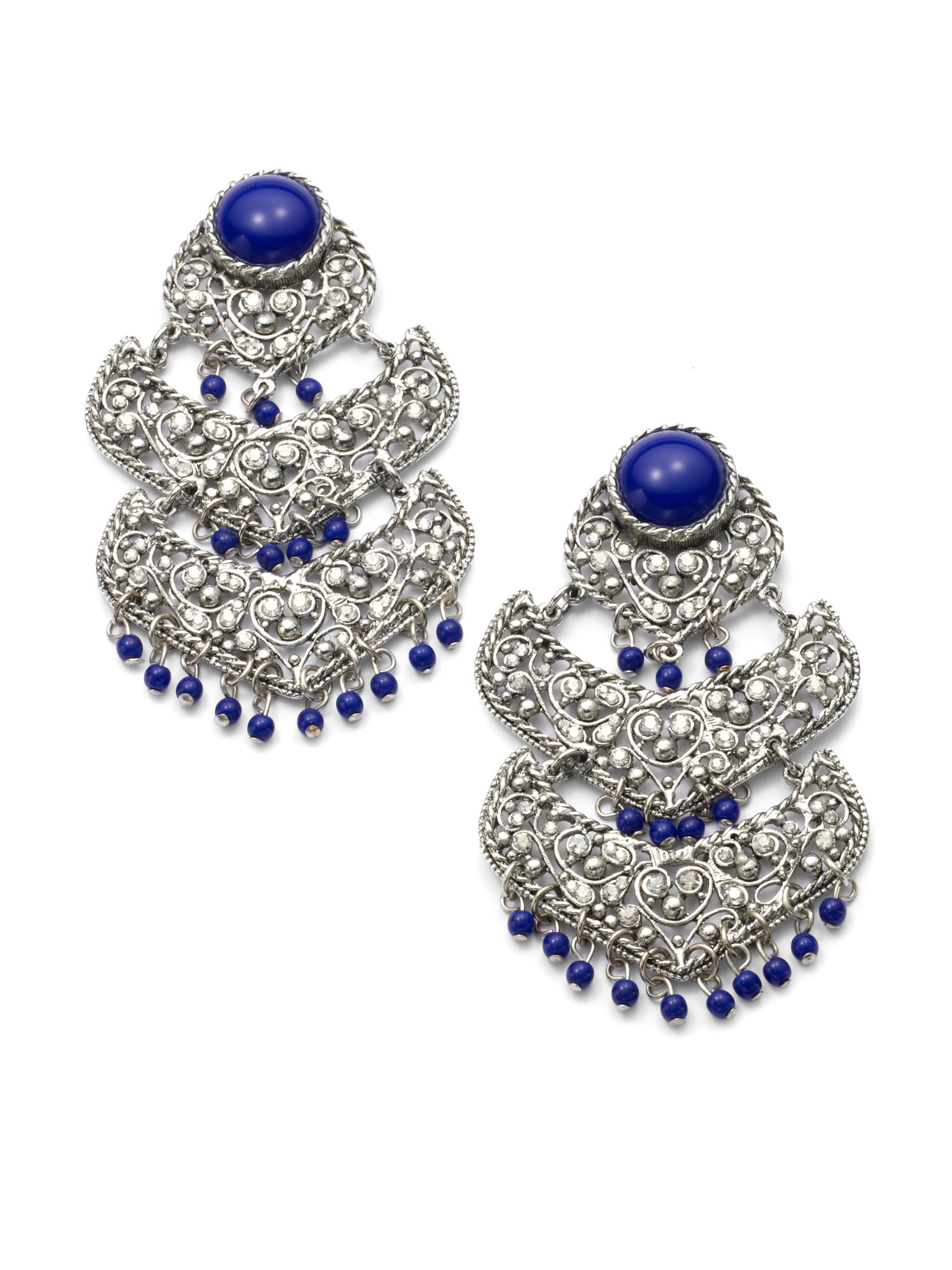 Lyst clara kasavina large filigree chandelier earrings in blue gallery arubaitofo Images