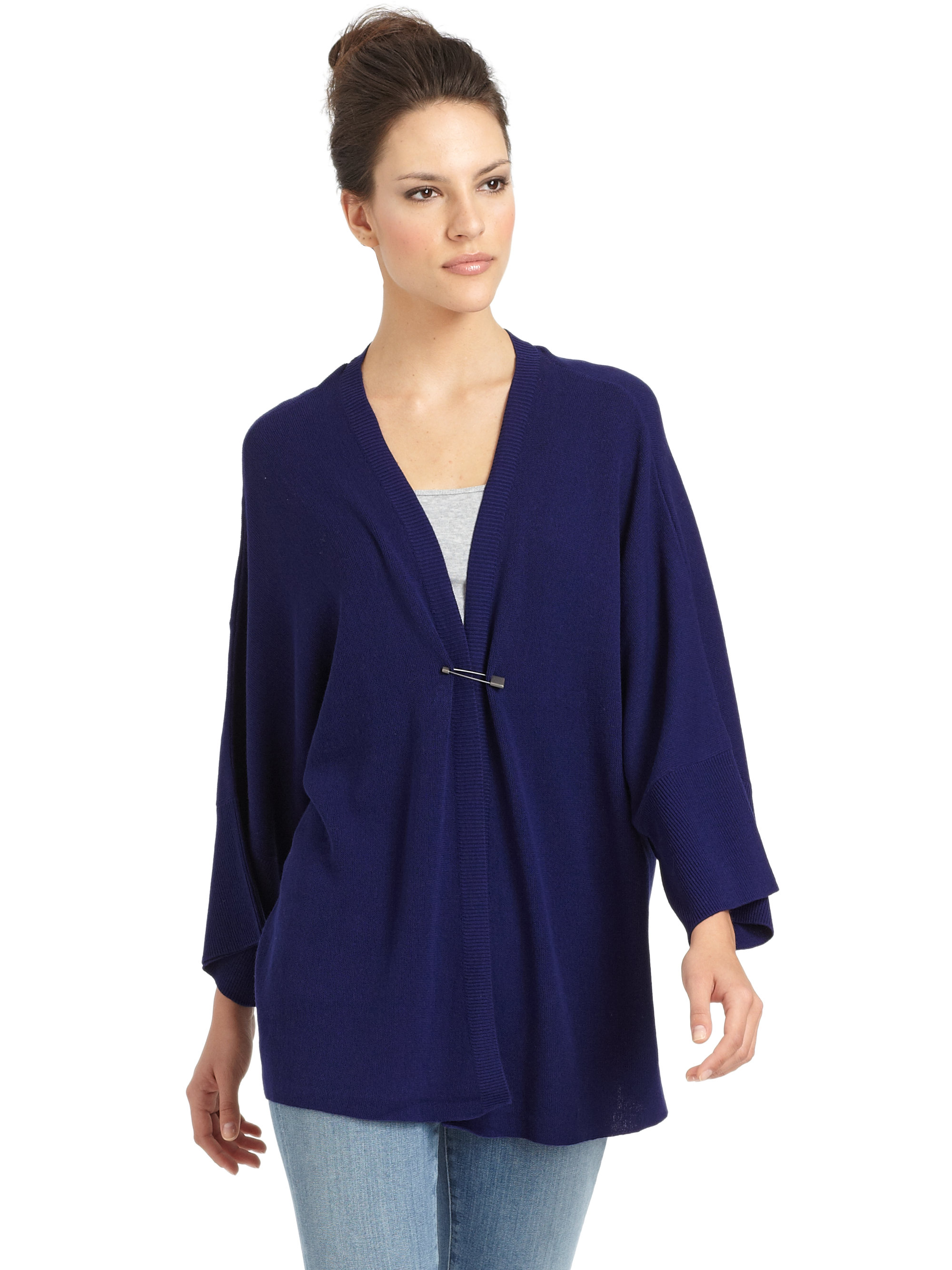 Eileen fisher Organic Cotton Kimono Cardigan in Blue | Lyst