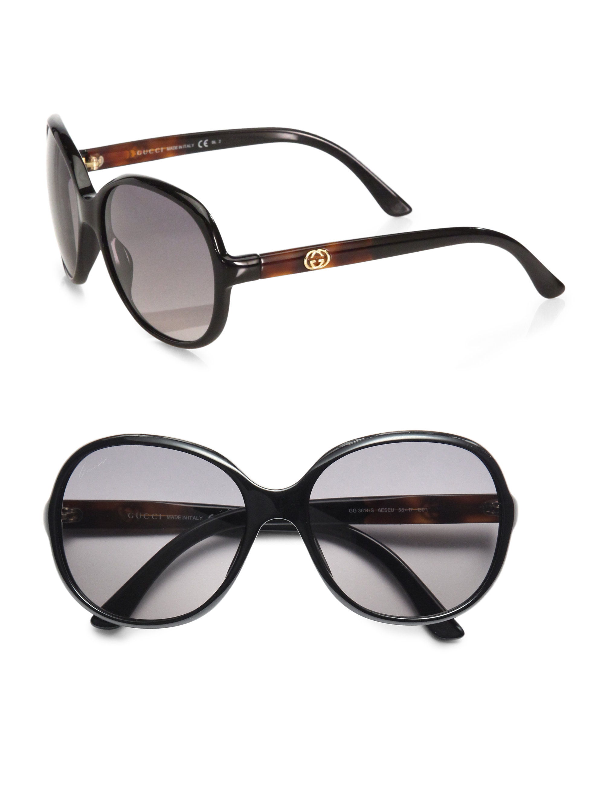 ba7222a8ea3 Lyst - Gucci Oversized Round Plastic Sunglasses in Black