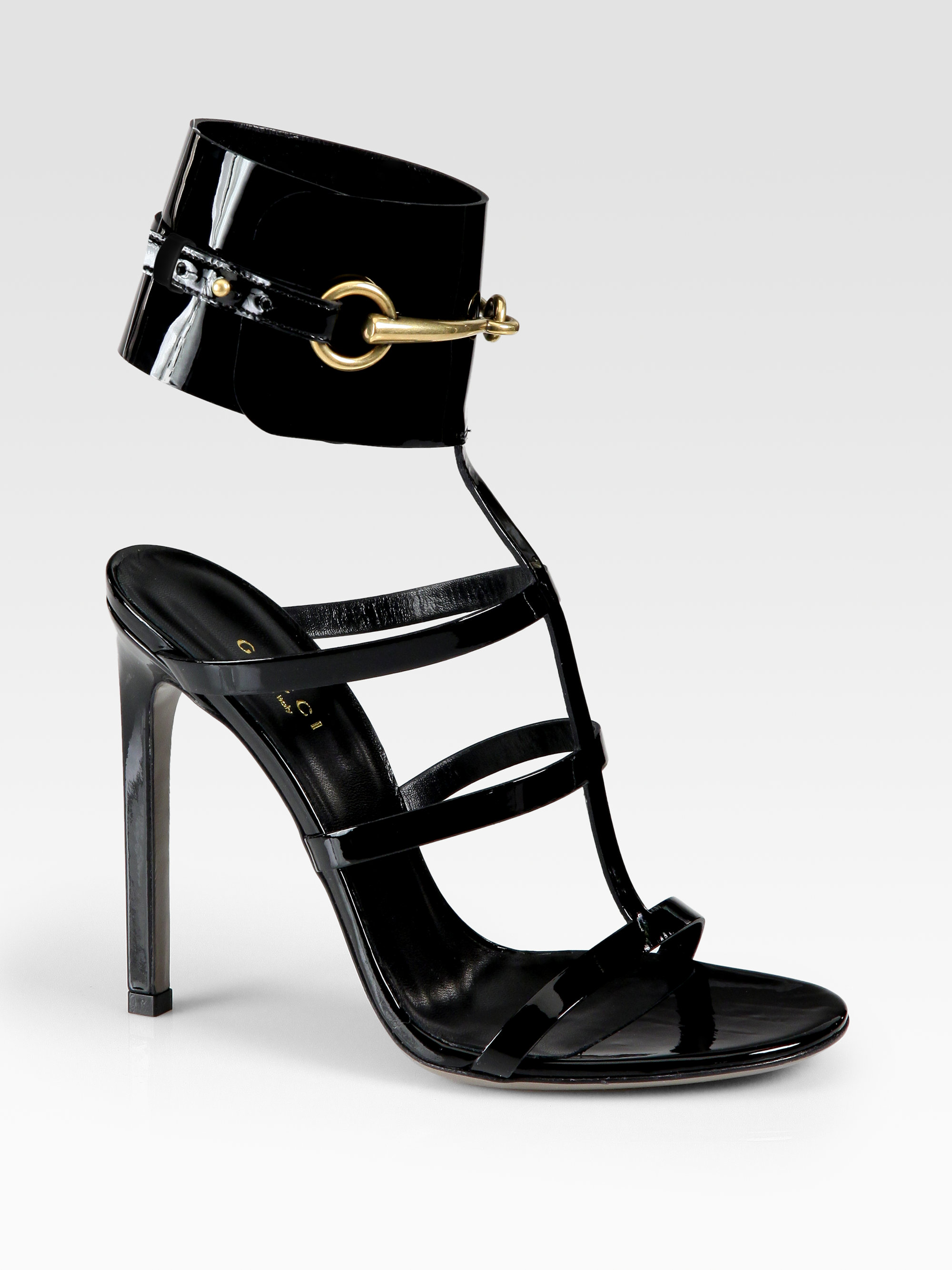 5942946a3c8 Lyst - Gucci Ursula Patent Leather Horsebit Ankle Strap Sandals in Pink