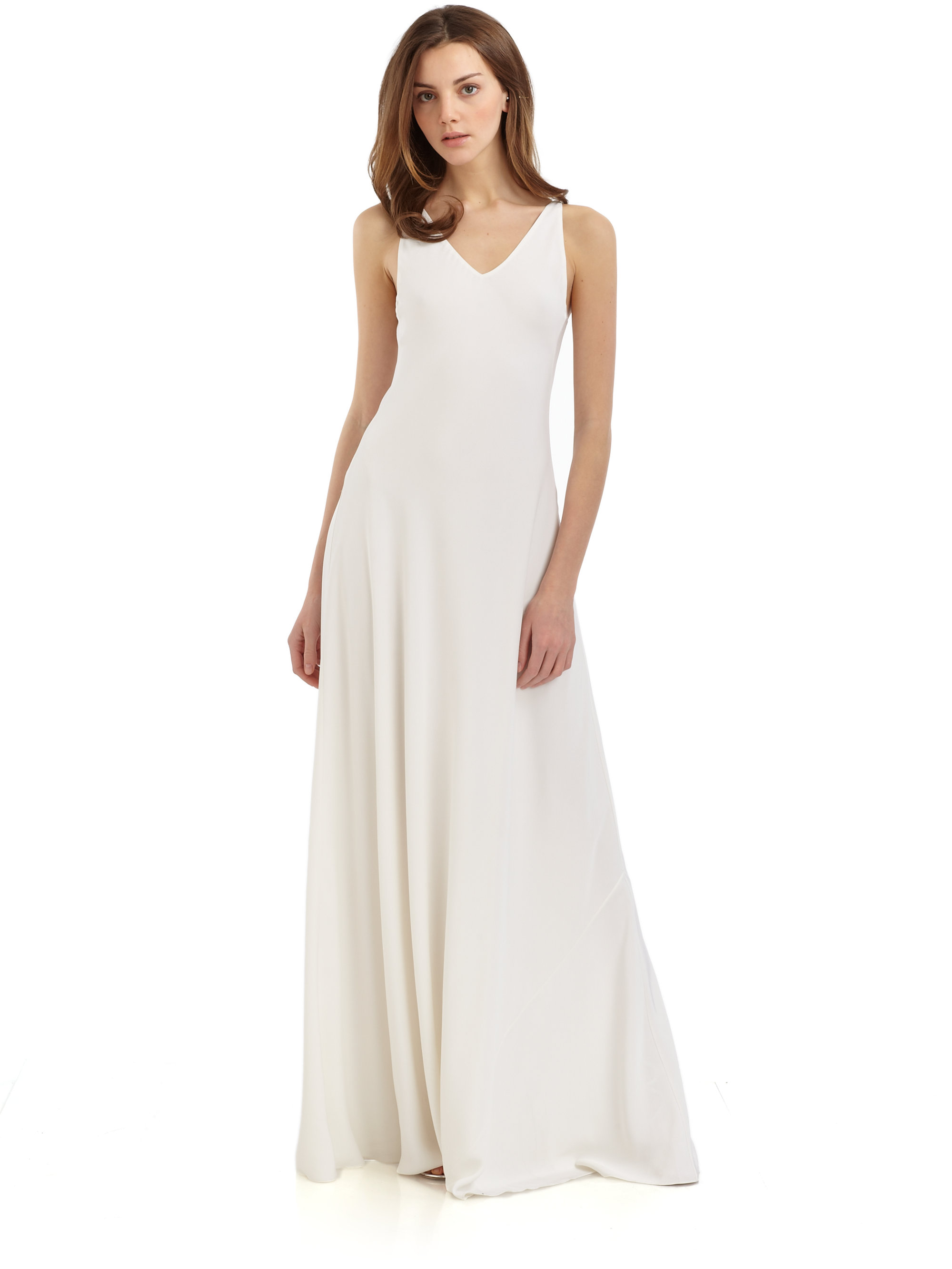 Halston Long Vneck Silk Dress in White  Lyst