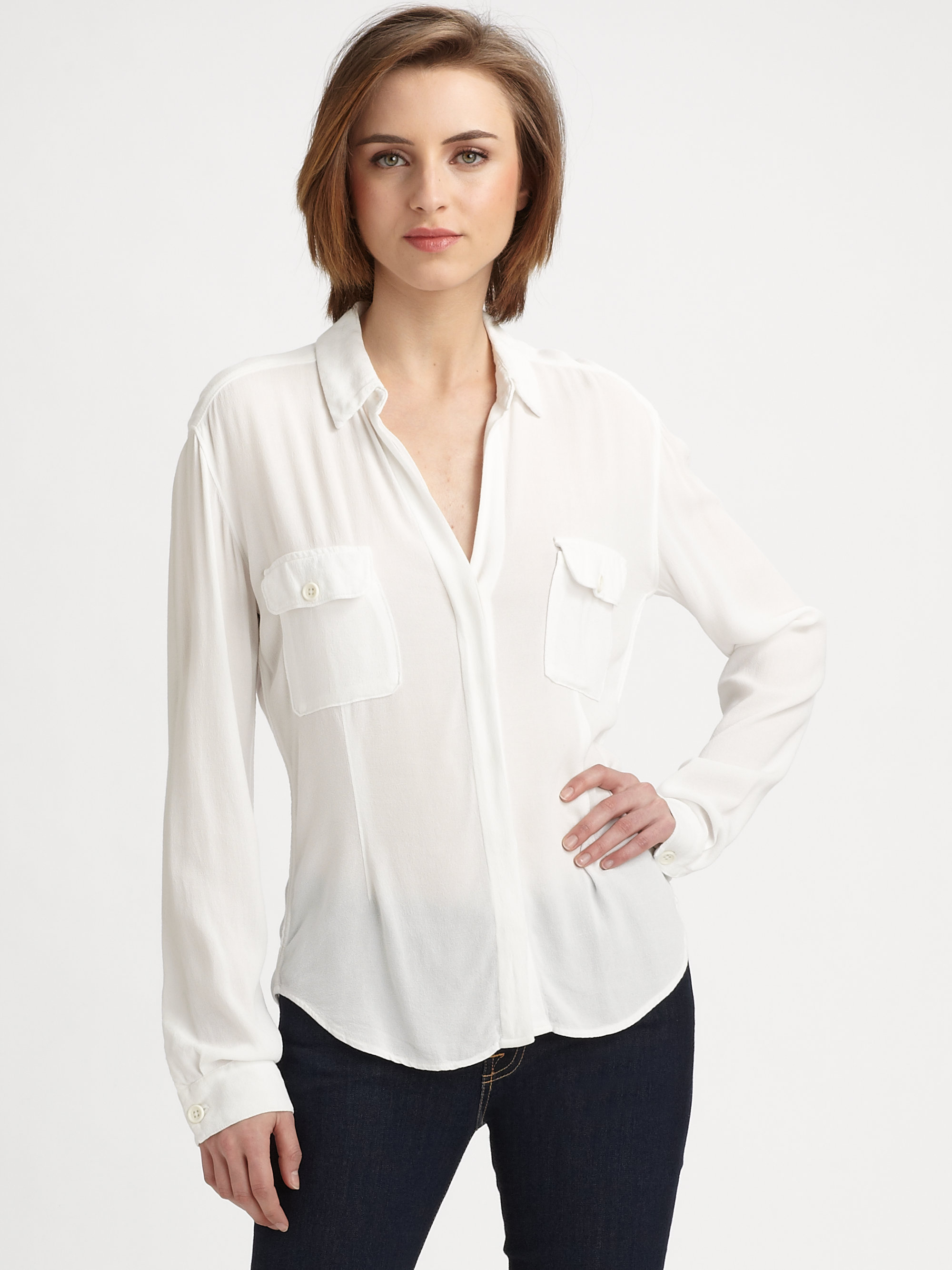 james perse crepe utility shirt in white lyst