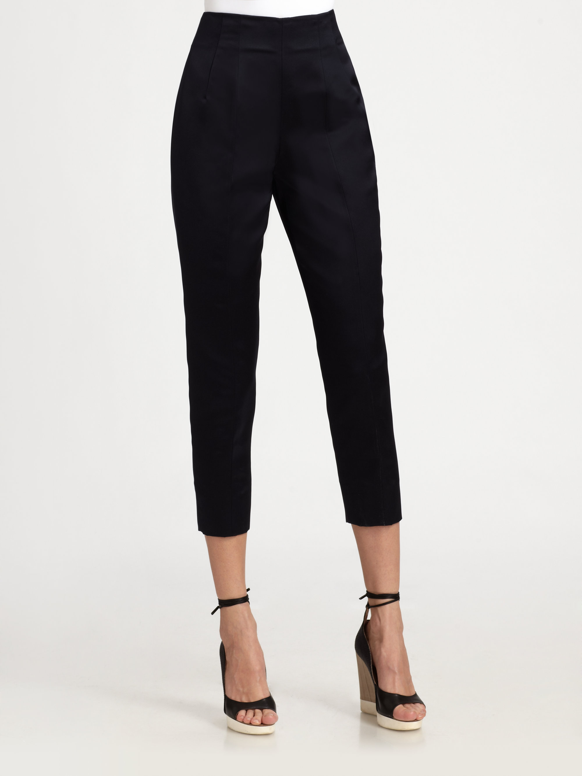 Jil sander Silk Capri Pants in Black | Lyst